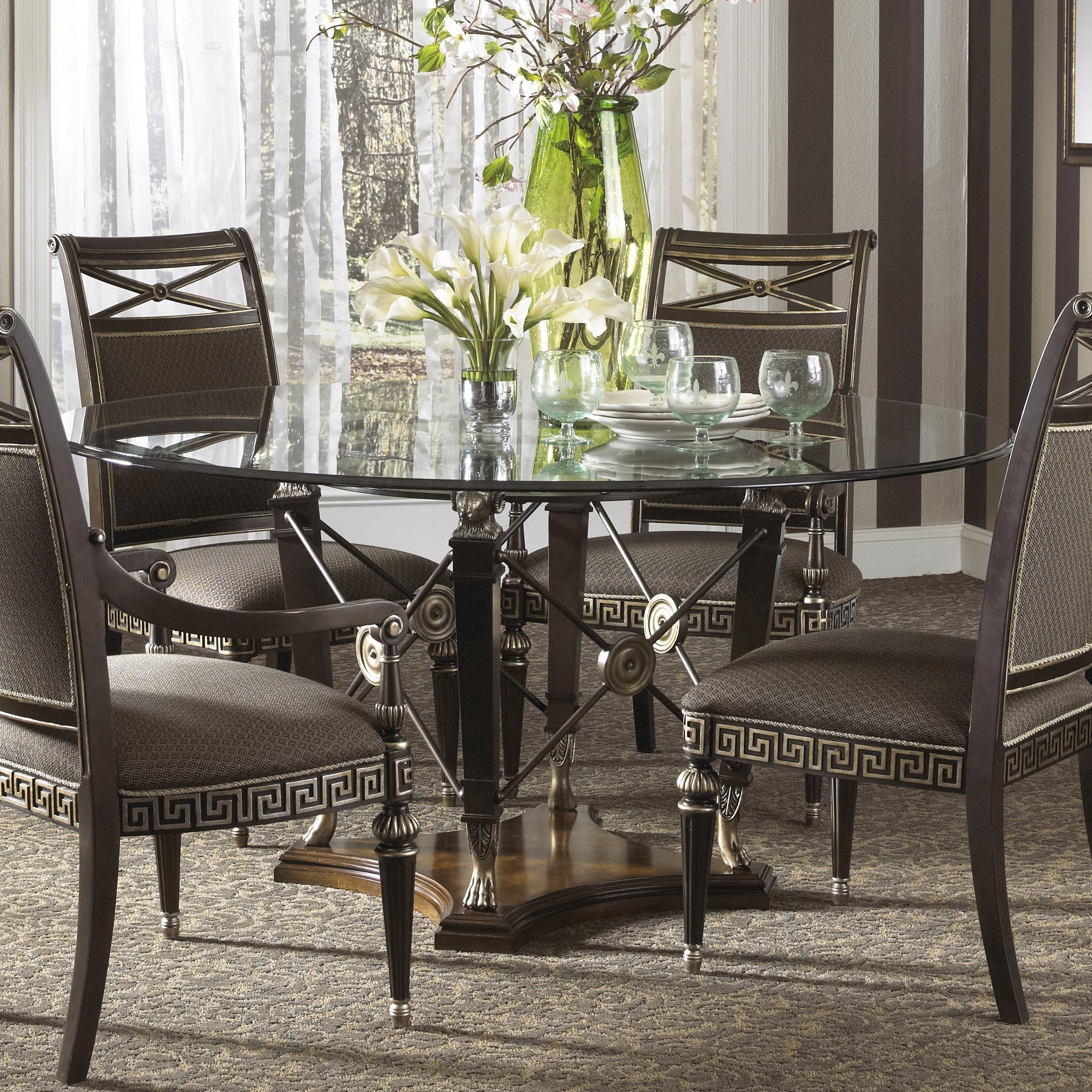 2017 Pedestal Dining Tables And Chairs With Regard To Tempered Gorgeous Chairs Decor Diameter Set Round Below Seats (View 1 of 25)