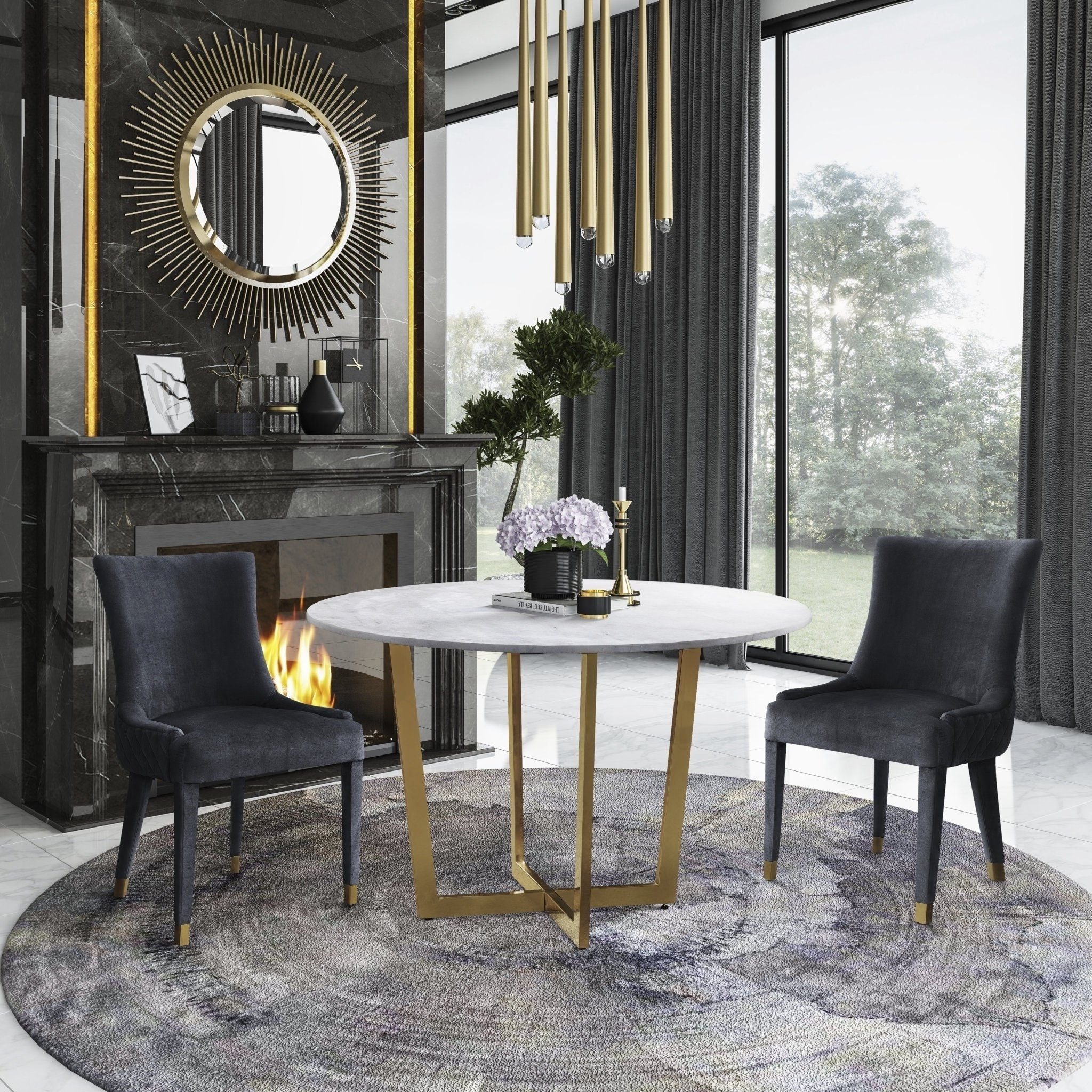 2017 Shop Maxim Marble Dining Table With Diamond Grey Dining Chair 5 For Rocco 7 Piece Extension Dining Sets (View 10 of 25)