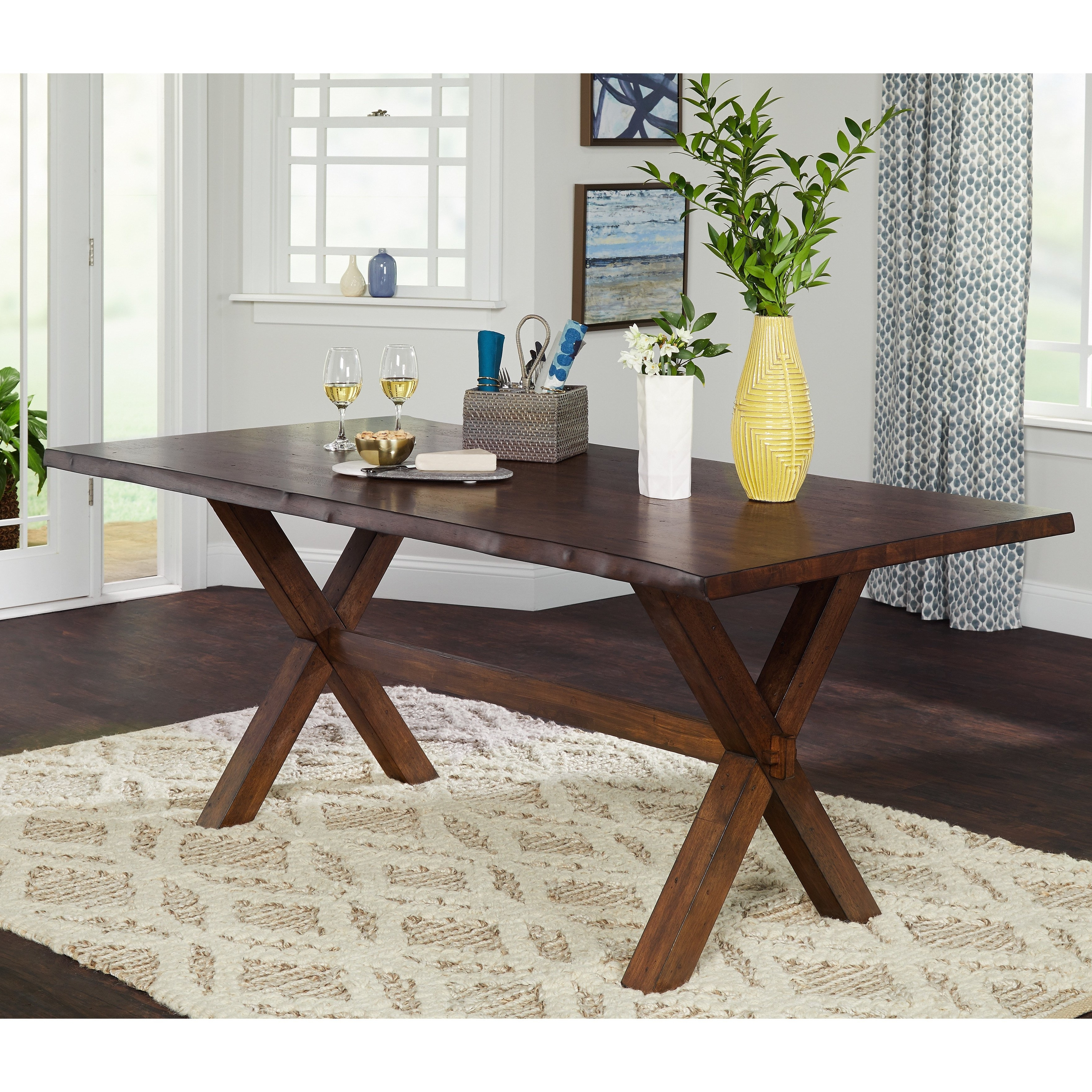 2017 Simple Living Mandeville Live Edge Solid Wood Dining Table – Walnut Within Wood Dining Tables (View 11 of 25)