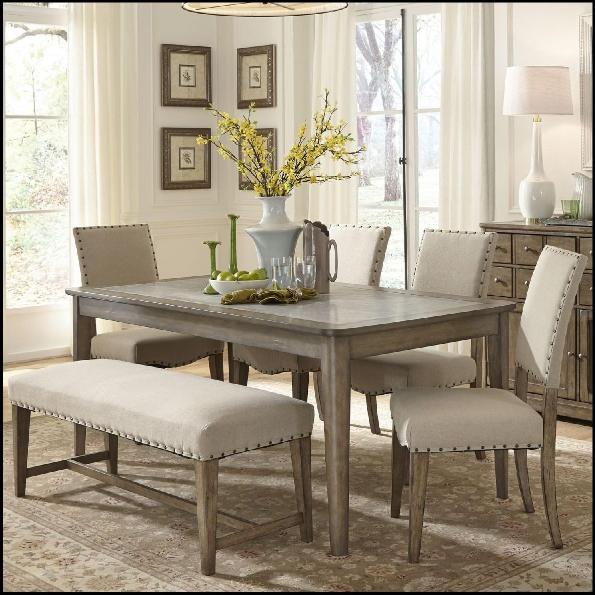2017 Small Dining Tables And Bench Sets Within Wonderfull Kitchen Table Bench Sets Small Kitchen Island Best With (View 10 of 25)