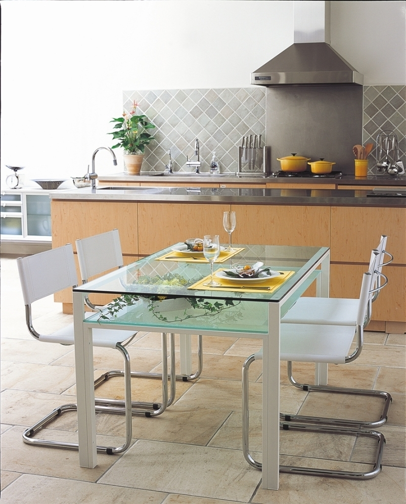 2017 Smoked Glass Dining Tables And Chairs Regarding Mirage: Glass Dining Table 1500X800Mm / White Frame & Clear (View 24 of 25)