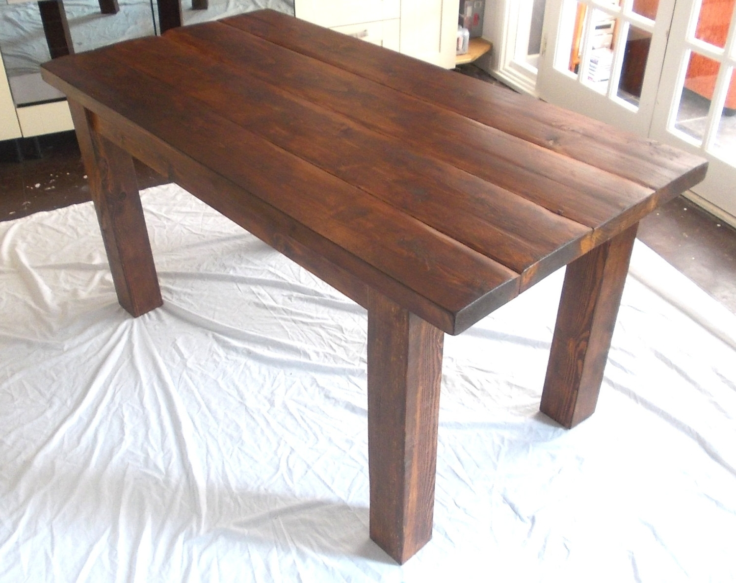 2017 Solid Dark Wood Dining Tables Pertaining To Rustic Solid Wood Plank Kitchen Dining Table Stained In Dark Black (View 22 of 25)