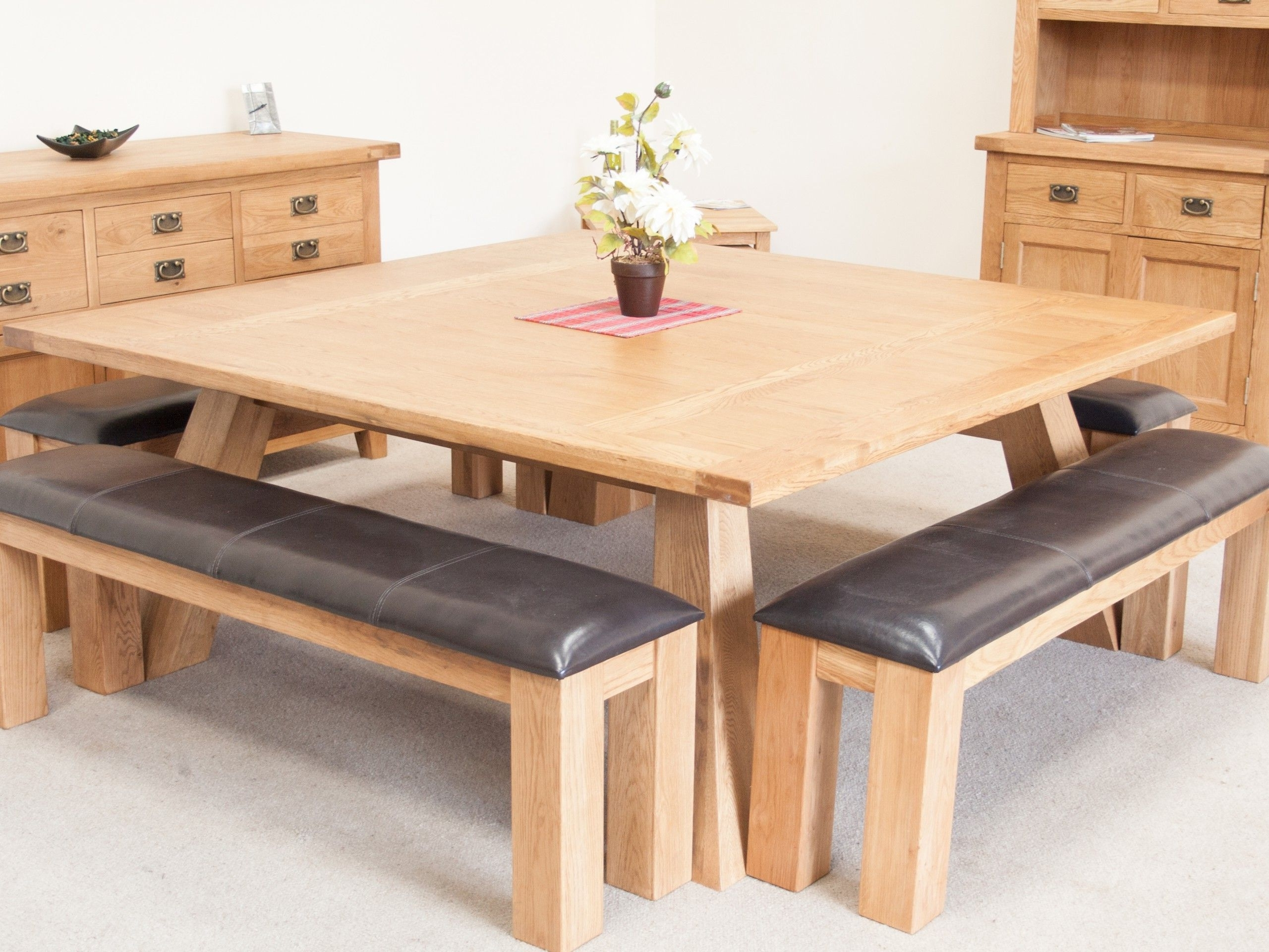 2017 Square Oak Dining Tables inside Country Oak 1.8M Large Square Oak Dining Room Table