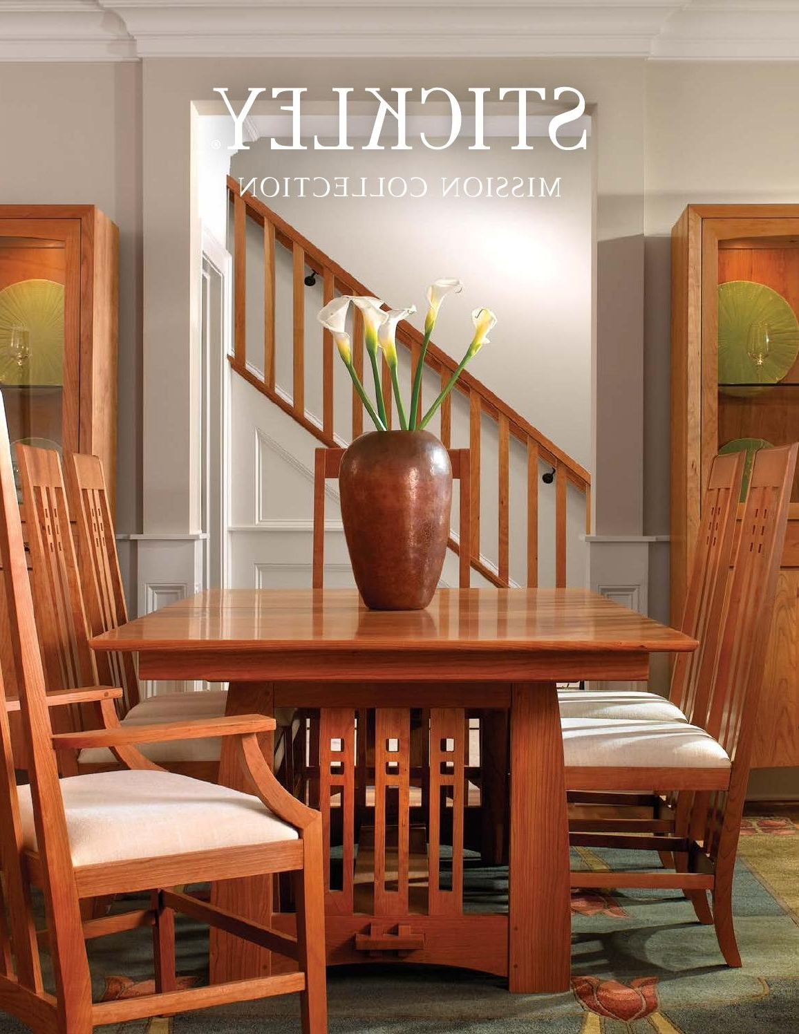 2017 Stickley Mission Oak & Cherry Collectionstickley – Issuu Pertaining To Craftsman 5 Piece Round Dining Sets With Side Chairs (View 1 of 25)