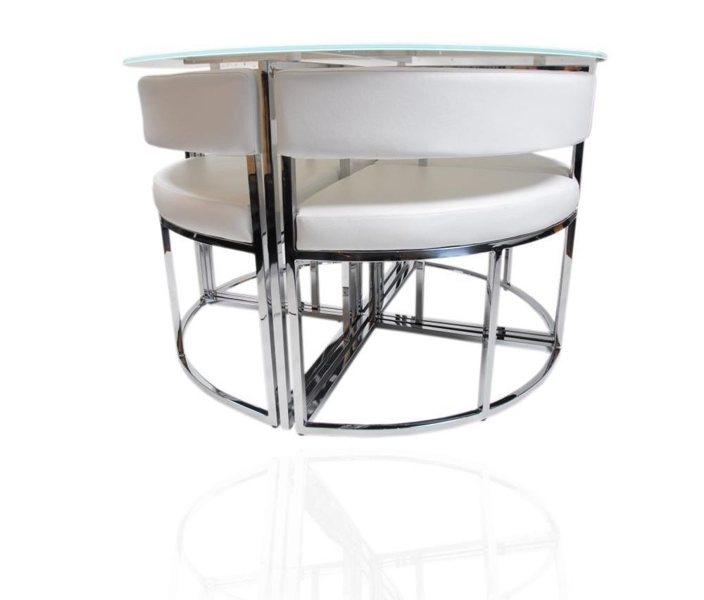 2017 Stowaway Dining Tables And Chairs Intended For White Round Stowaway Glass Dining Table And Chairs Set Hideaway (View 1 of 25)