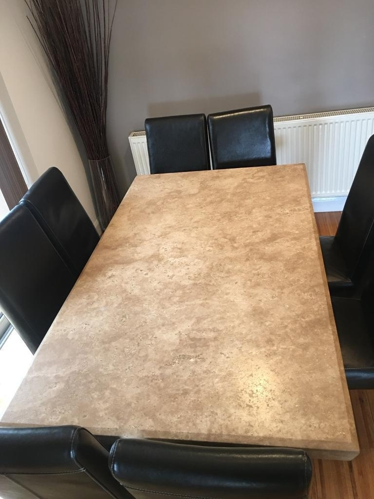 2017 Travertine Solid Marble Dining Table And 8 Leather Chairs (View 20 of 25)