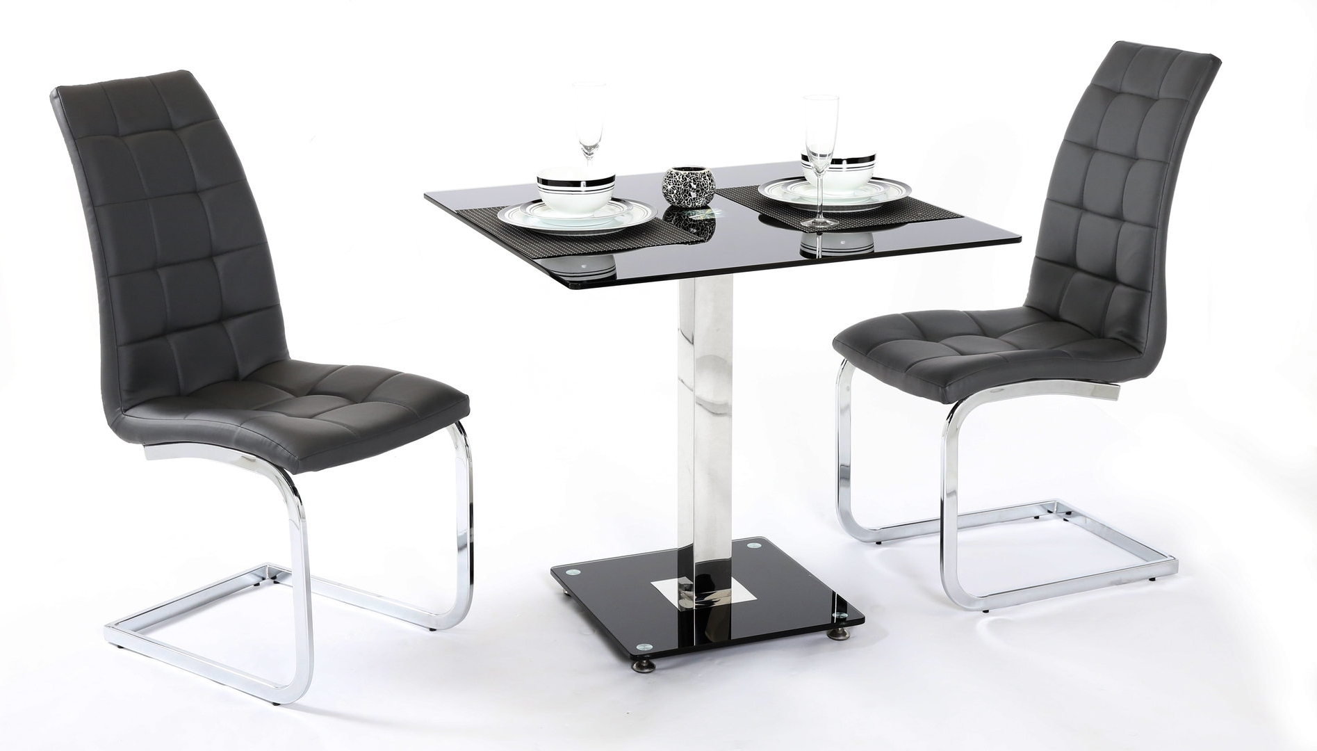 2017 Two Seat Dining Tables Within 2 Seater Black Glass Dining Table And Chairs Homegenies Nailhead (View 19 of 25)