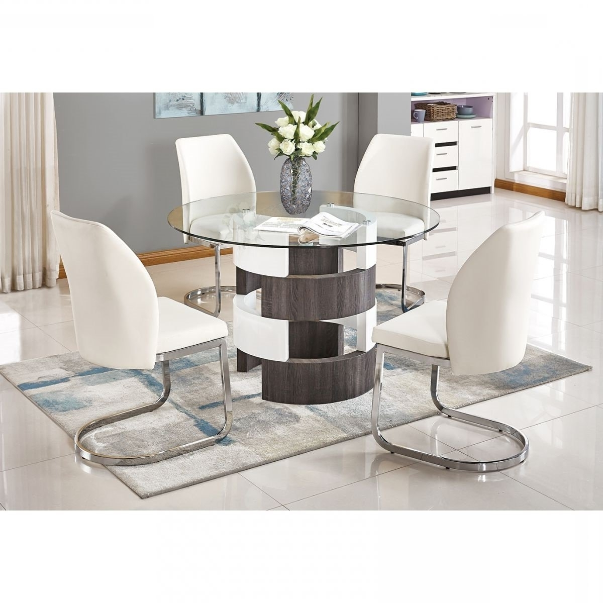 2017 Valencia 5 Piece Round Dining Sets With Uph Seat Side Chairs Regarding Argot White 5 Pc Dining Room (View 1 of 25)
