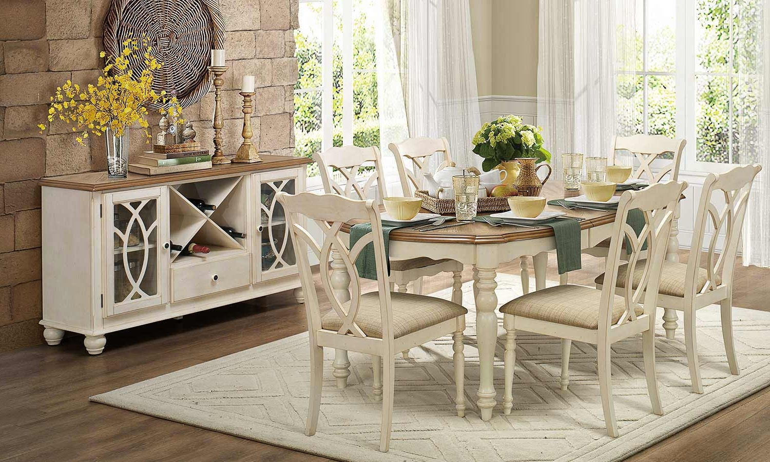 2017 White Dining Tables Sets with regard to Homelegance Azalea 7Pc Antique White Dining Table Set Dallas Tx