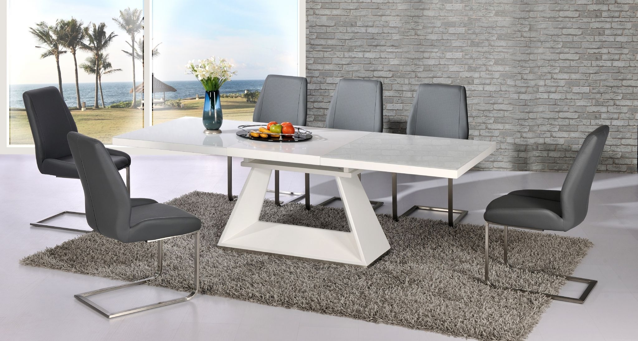 2017 White Glass Extending Dining Table (Gallery 18 of 25)