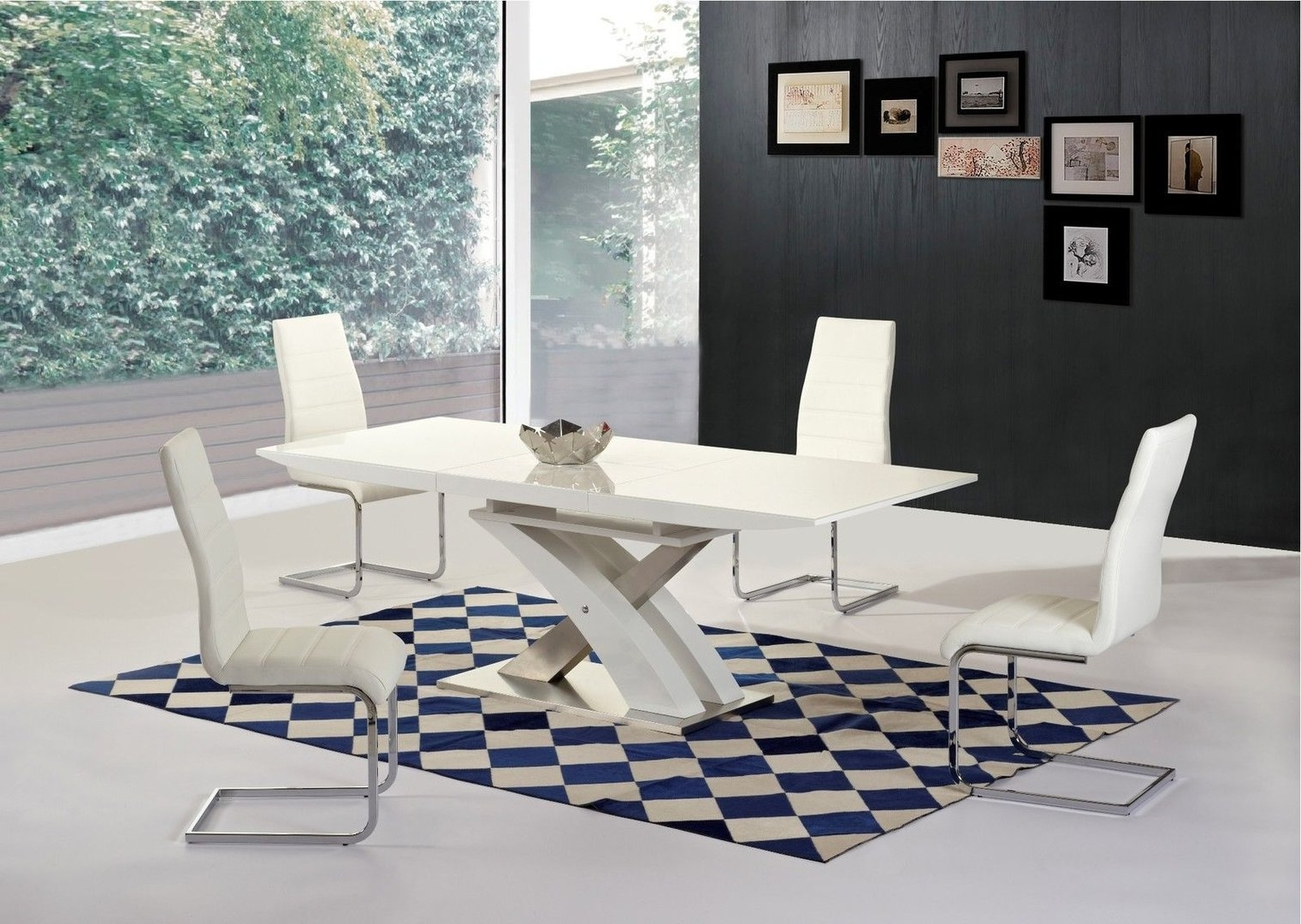 2017 White H Gloss Extending Glass Dining Table & 8 Chairs -Homegenies throughout Glass Dining Tables White Chairs