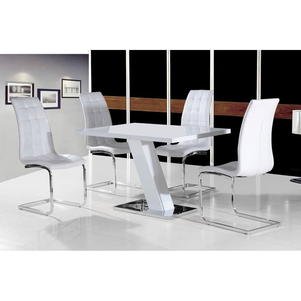 2017 White High Gloss Dining Tables And 4 Chairs Inside Arizona Dining Set 4 Seater White High Gloss (Various Colours (Gallery 19 of 25)