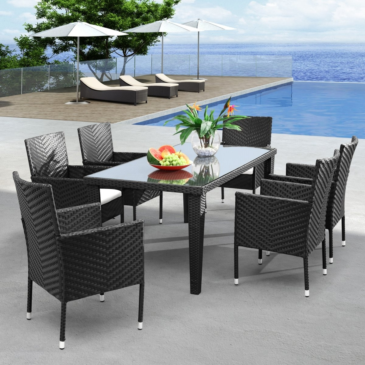 2017 Wicker And Glass Dining Tables Intended For Gray Plastic Wicker Outdoor Dining Room Set With Glass Dining Table (View 12 of 25)