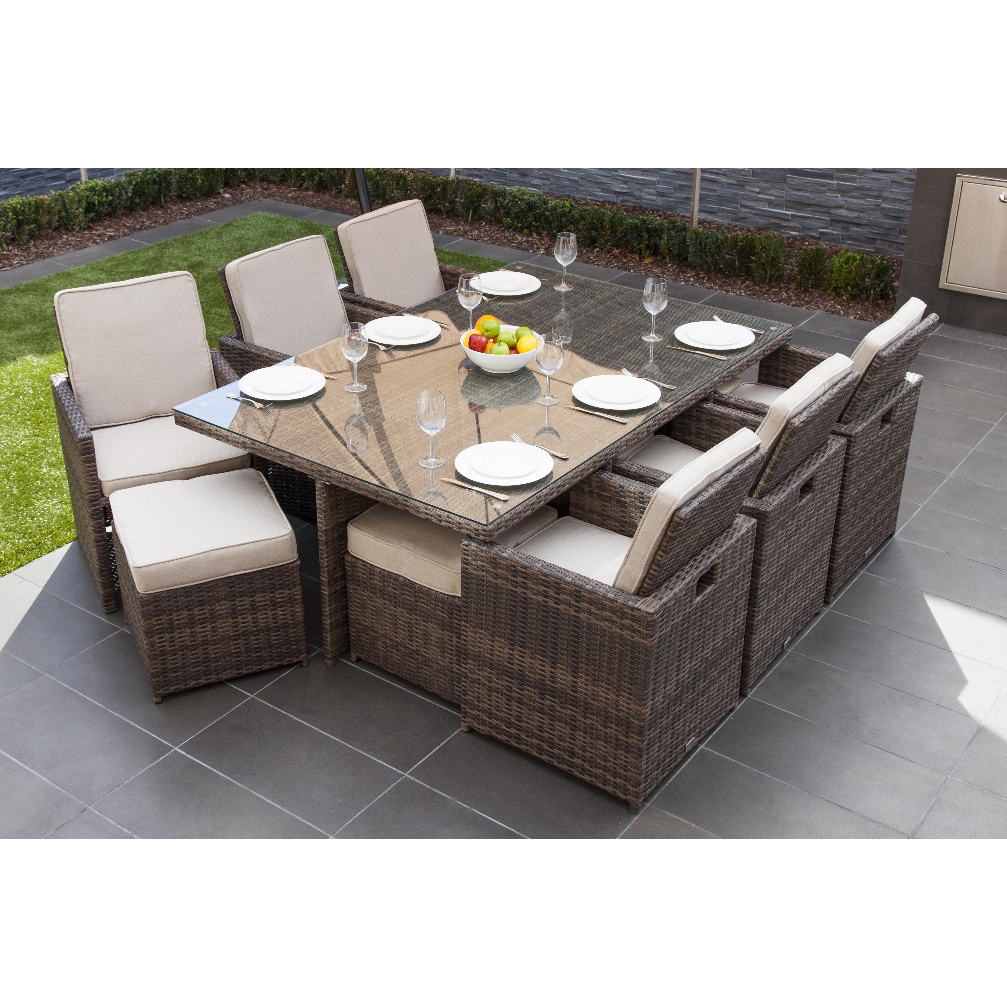 2017 Wicker And Glass Dining Tables Within Shop Malta 11 Piece Outdoor Wicker Dining Table And Cushion Set (View 2 of 25)