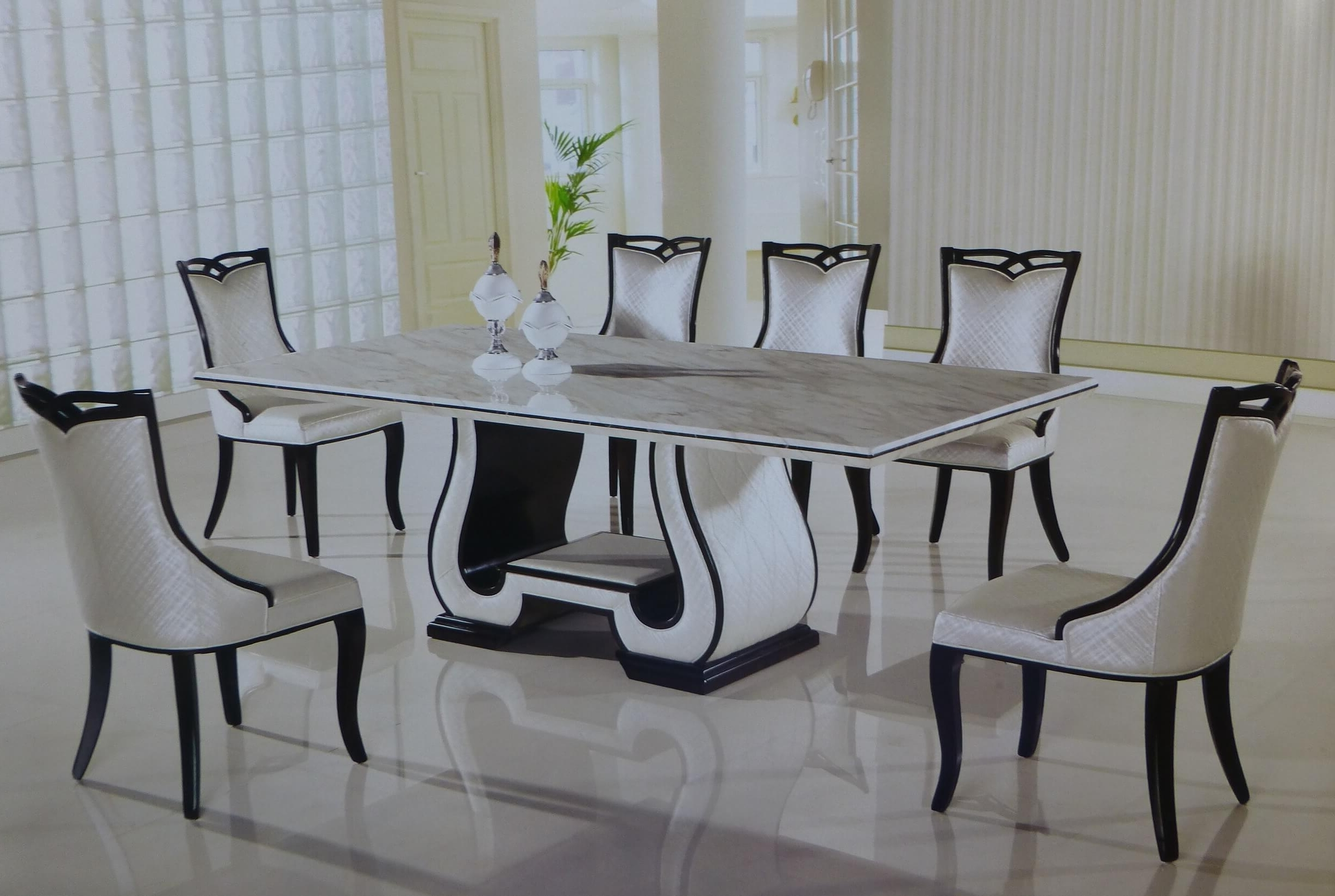 2018 11 Piece Callisto Italian Marble Rectangular Dining Set – Usa With Regard To Marble Dining Chairs (Gallery 25 of 25)