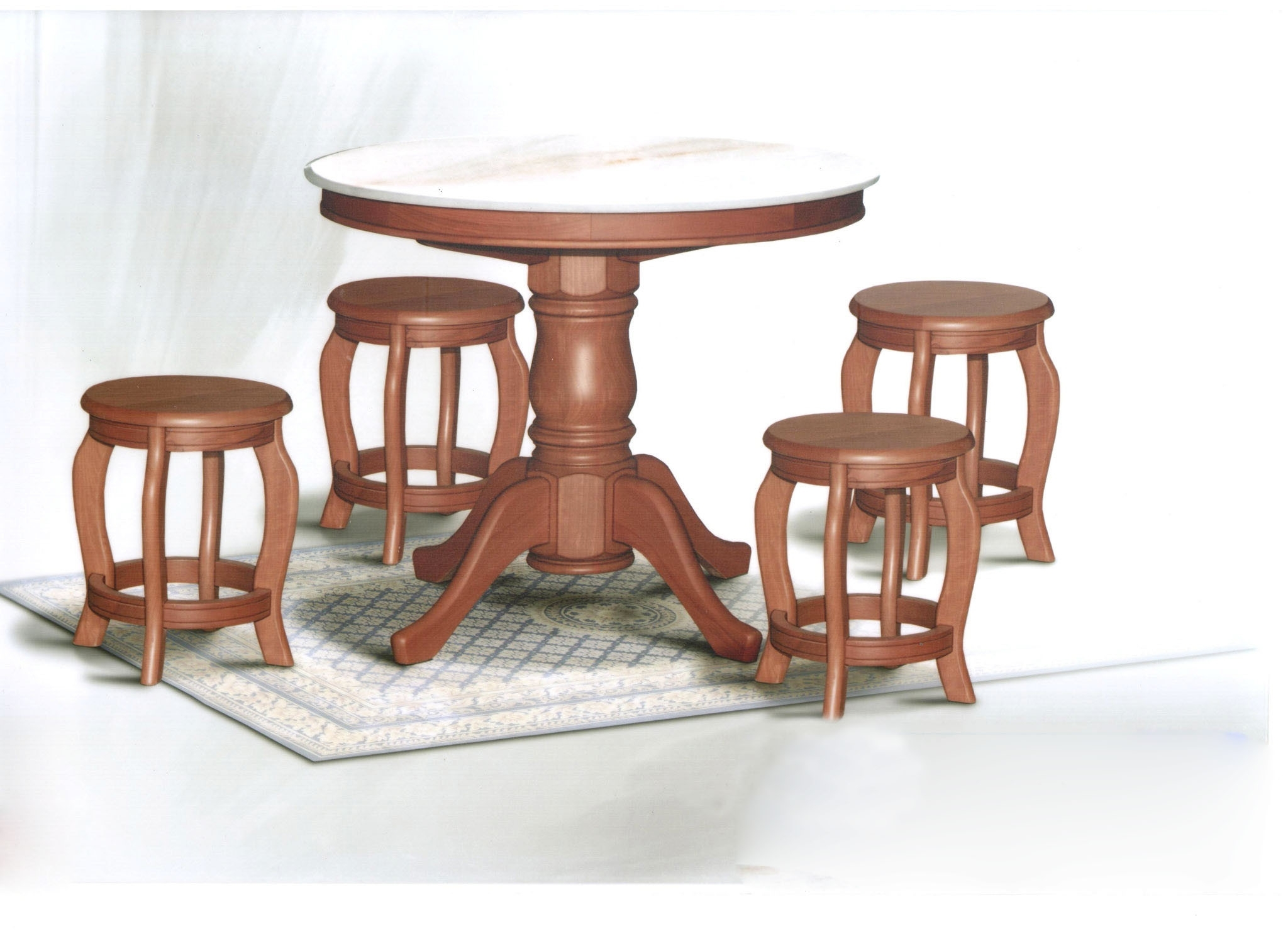 2018 3Ft Dining Tables For Dn788 Round Marble Dining Table (3Ft) + 4 Stools Set (View 2 of 25)