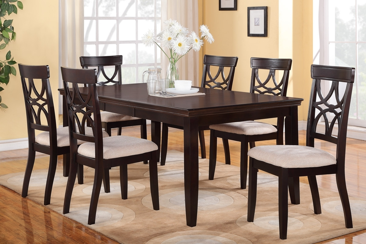 2018 6 Piece Dining Table Set Espresso Finish Huntington Dining Room Pertaining To Dining Table Sets With 6 Chairs (View 1 of 25)