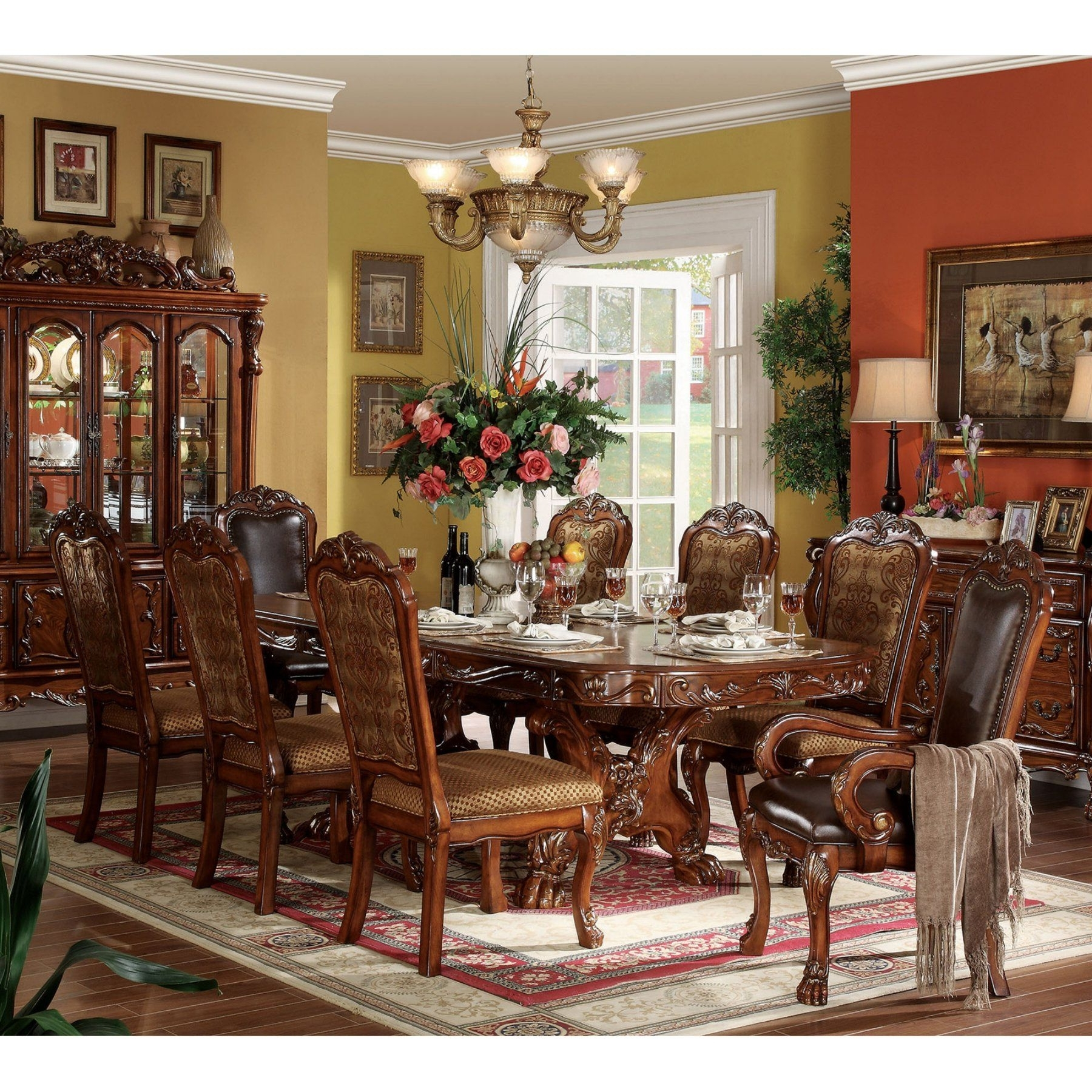 2018 Acme Furniture Dresden Cherry 9 Piece Trestle Dining Table Set Regarding Craftsman 9 Piece Extension Dining Sets With Uph Side Chairs (Gallery 18 of 25)