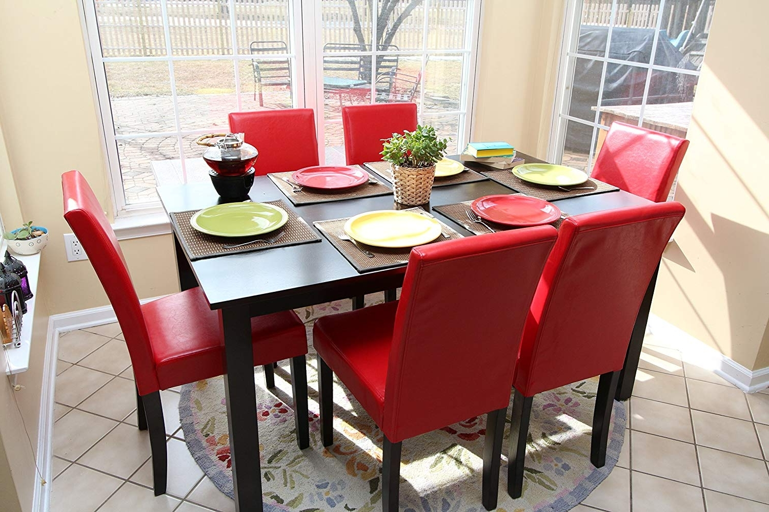 2018 Amazon – 7 Pc Red Leather 6 Person Table And Chairs Red Dining Within Red Dining Tables And Chairs (View 1 of 25)