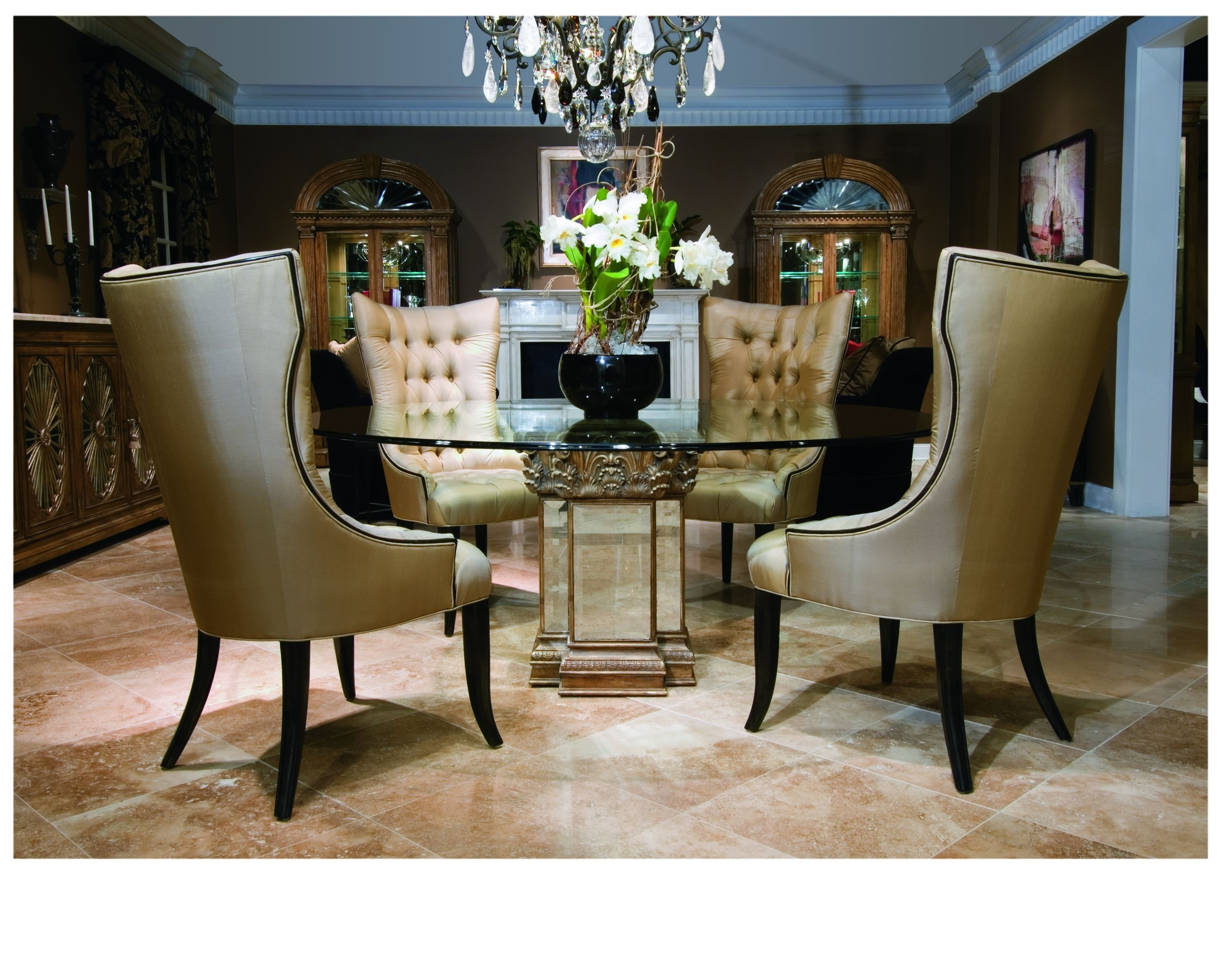 2018 Awesome Mirrored Wooden Base Round Glass Top Dining Table throughout Mirror Glass Dining Tables