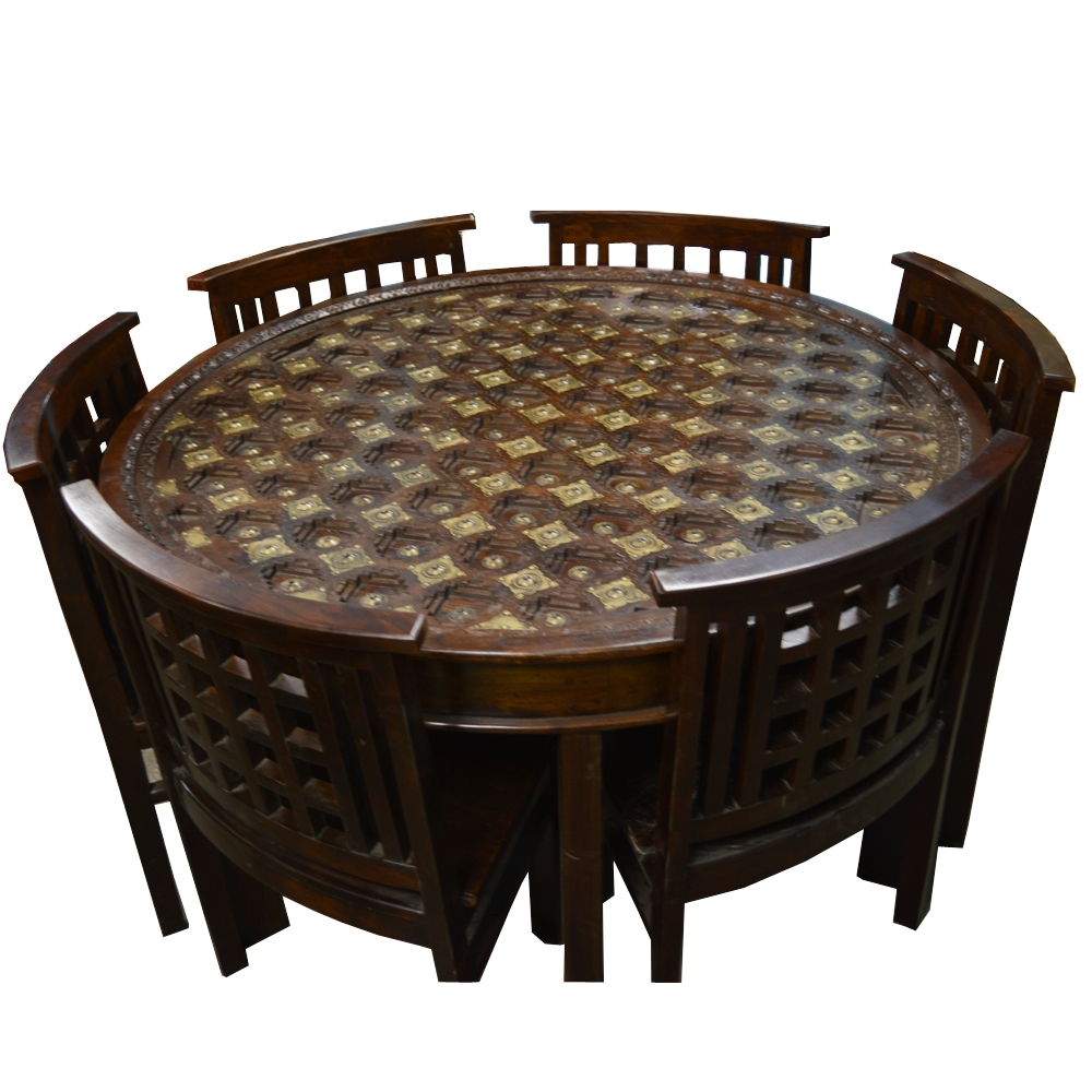2018 Brass Fitted Round Shaped Wooden Dining Table With Six Chairs pertaining to Dining Tables And Six Chairs