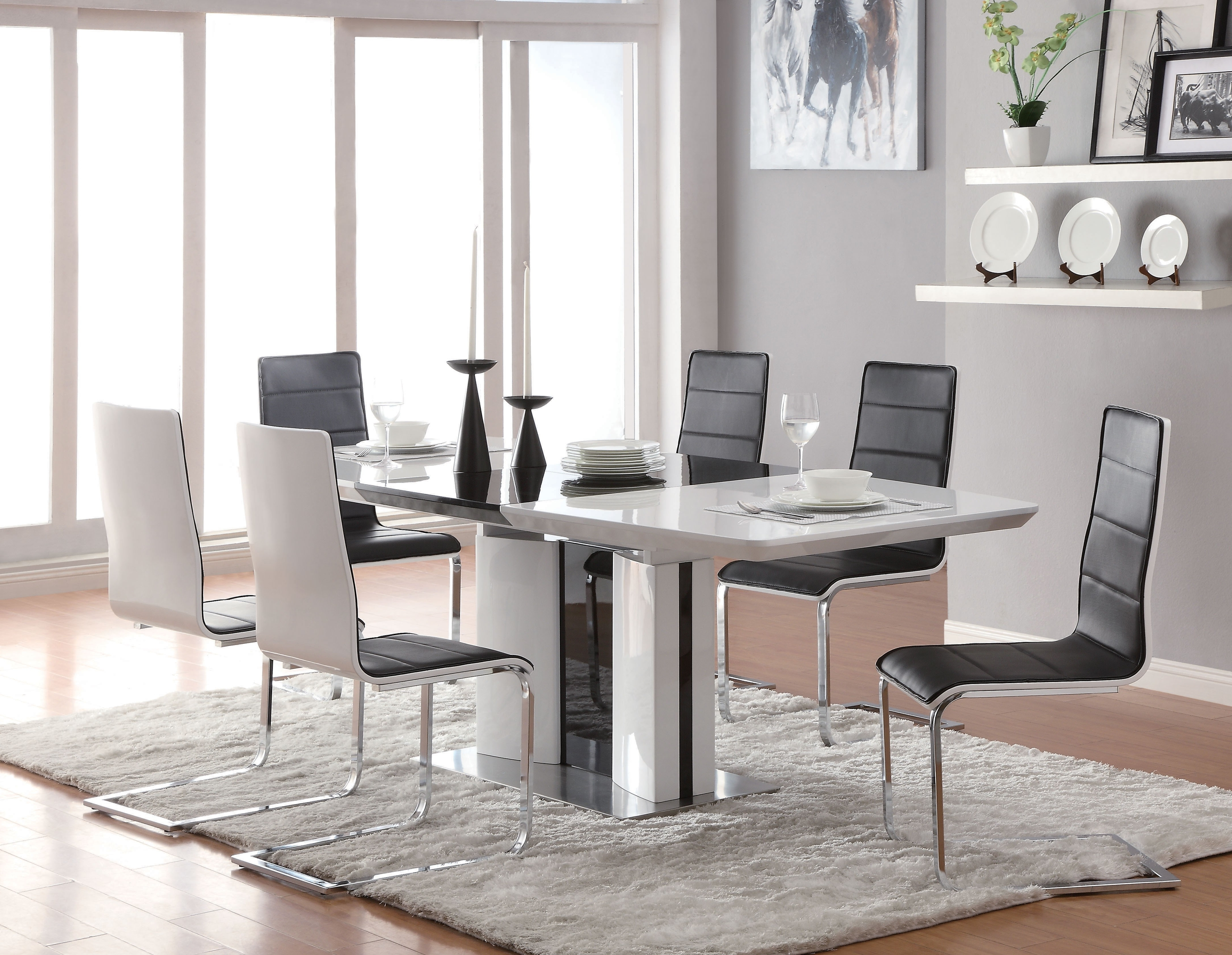 302b22e9b8cca 2018 Broderick Contemporary White Chrome Dining Table Regarding Cheap Contemporary  Dining Tables (View 1 of