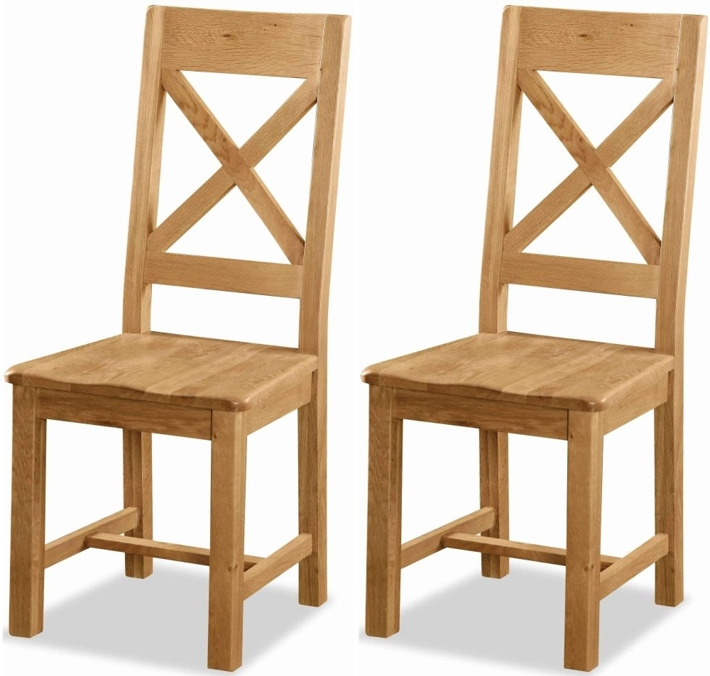 2018 Buy Global Home Salisbury Oak Cross Back Dining Chair With Wooden Within Oak Dining Chairs (View 4 of 25)