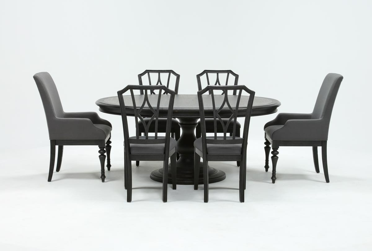 2018 Caira Black 5 Piece Round Dining Sets With Upholstered Side Chairs Regarding Caira Black 7 Piece Dining Set W/arm Chairs & Diamond Back Chairs (Gallery 9 of 25)