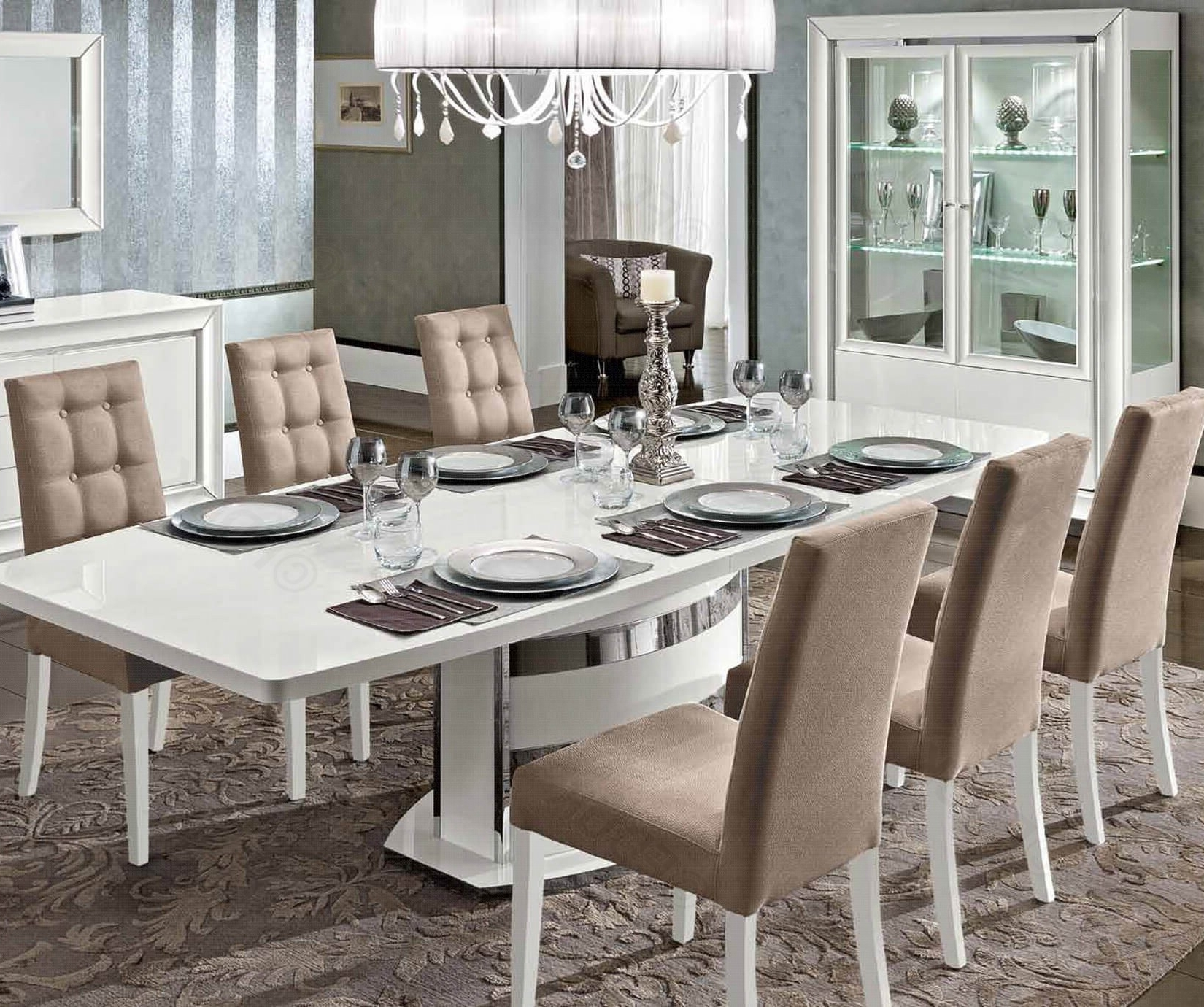 2018 Camel Group Roma White High Gloss Extending Dining Table With 6 Regarding High Gloss Extendable Dining Tables (View 22 of 25)