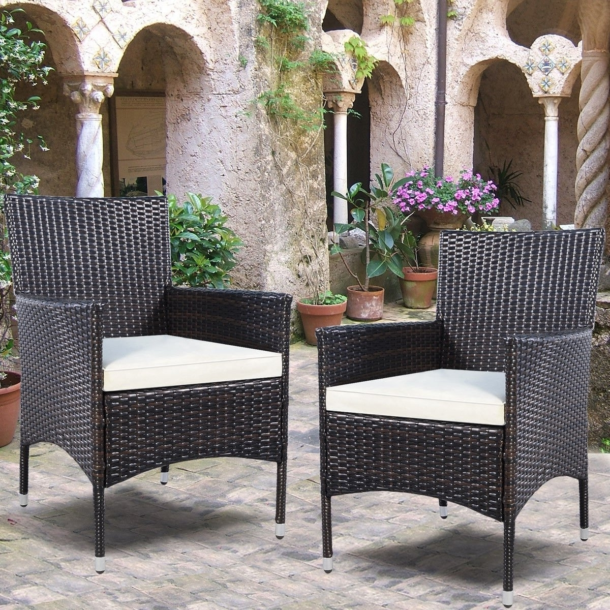 2018 Candice Ii 7 Piece Extension Rectangular Dining Sets With Slat Back Side Chairs Intended For Shop 2Pc Chairs Outdoor Patio Rattan Wicker Dining Arm Seat With (View 1 of 25)