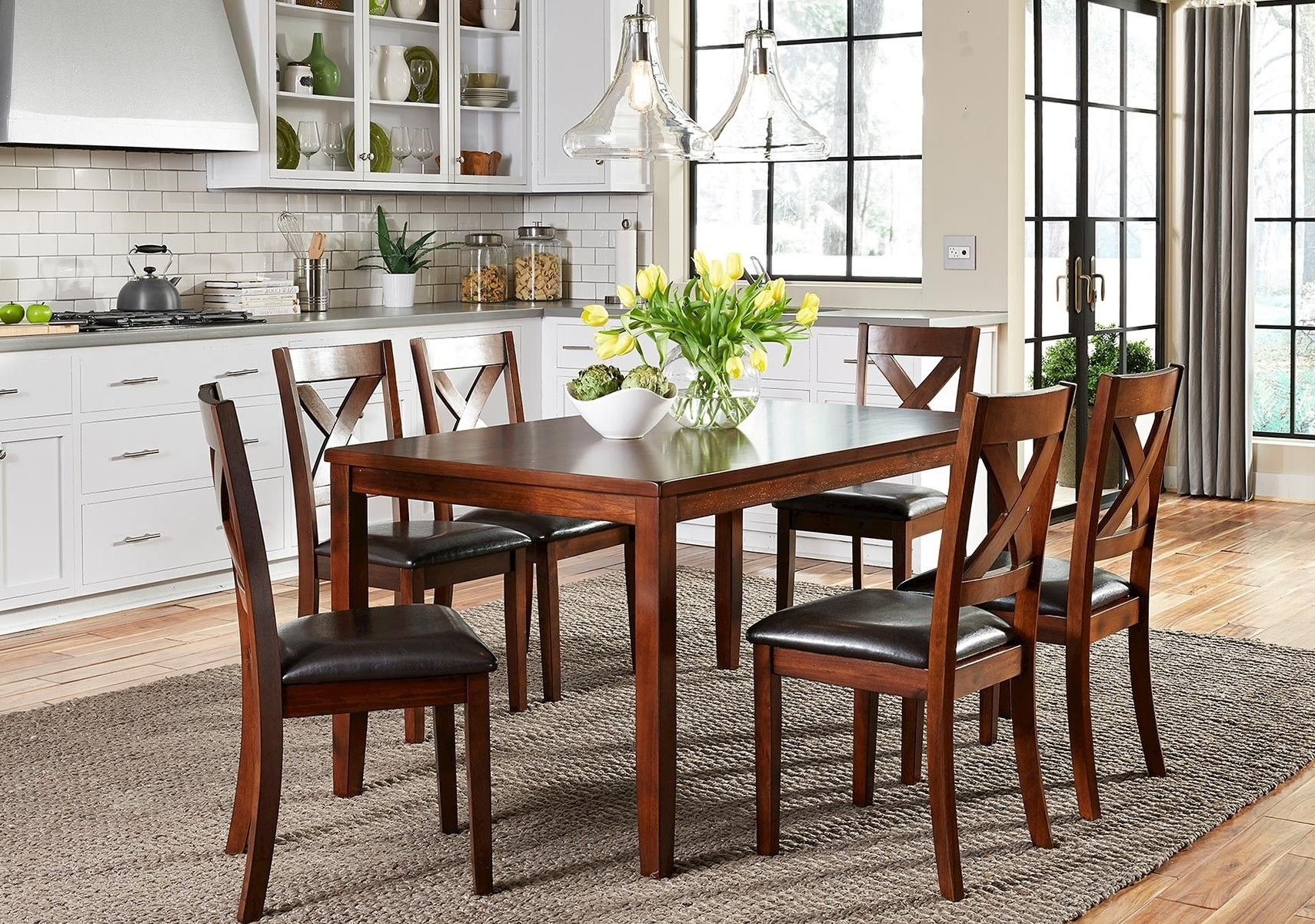 2018 Candice Ii 7 Piece Extension Rectangular Dining Sets With Uph Side Chairs throughout Lacks