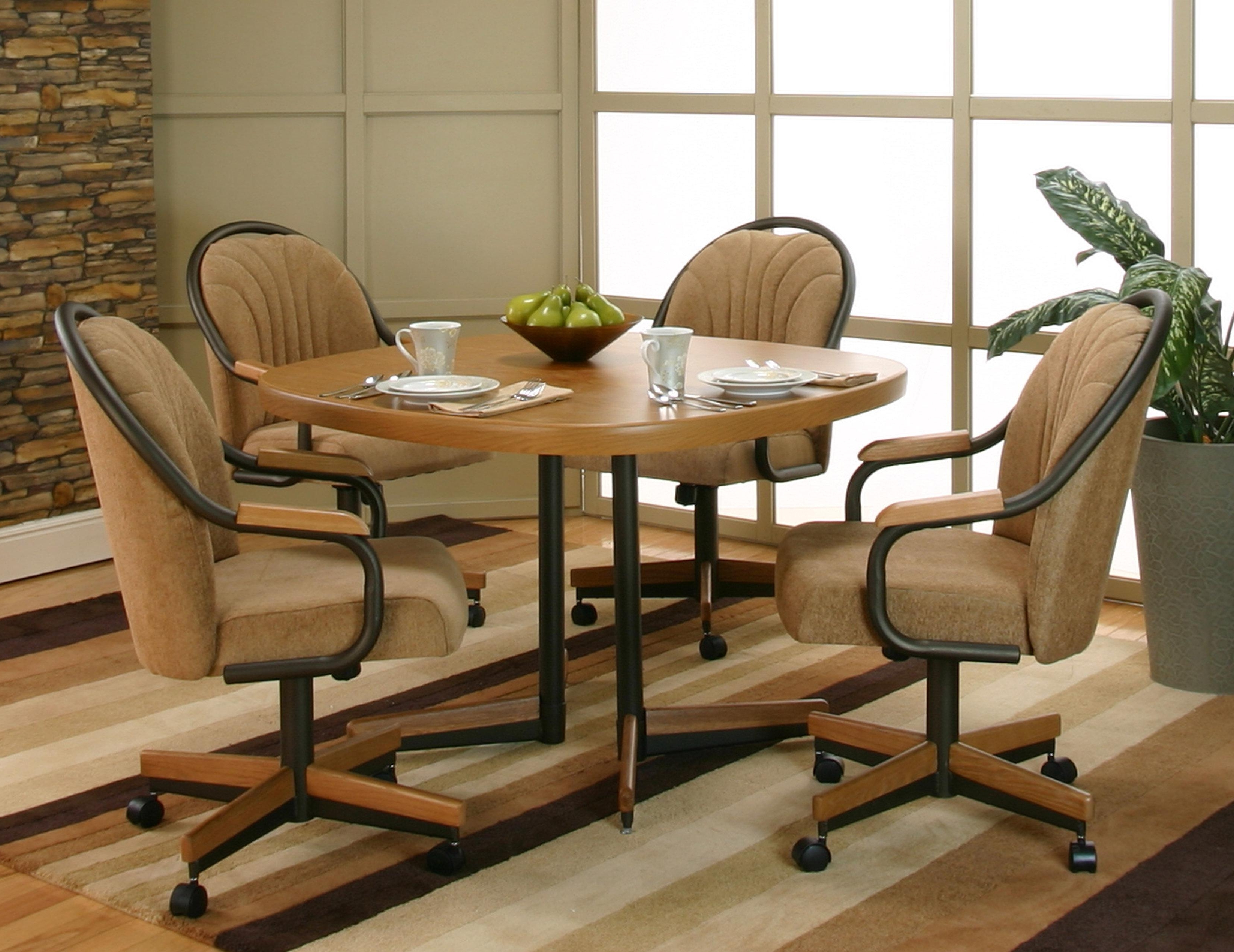 2018 Casual Sunset Oak Finished Dining Table With 4 Chenille Upholstered Intended For Round Oak Dining Tables And 4 Chairs (Gallery 12 of 25)