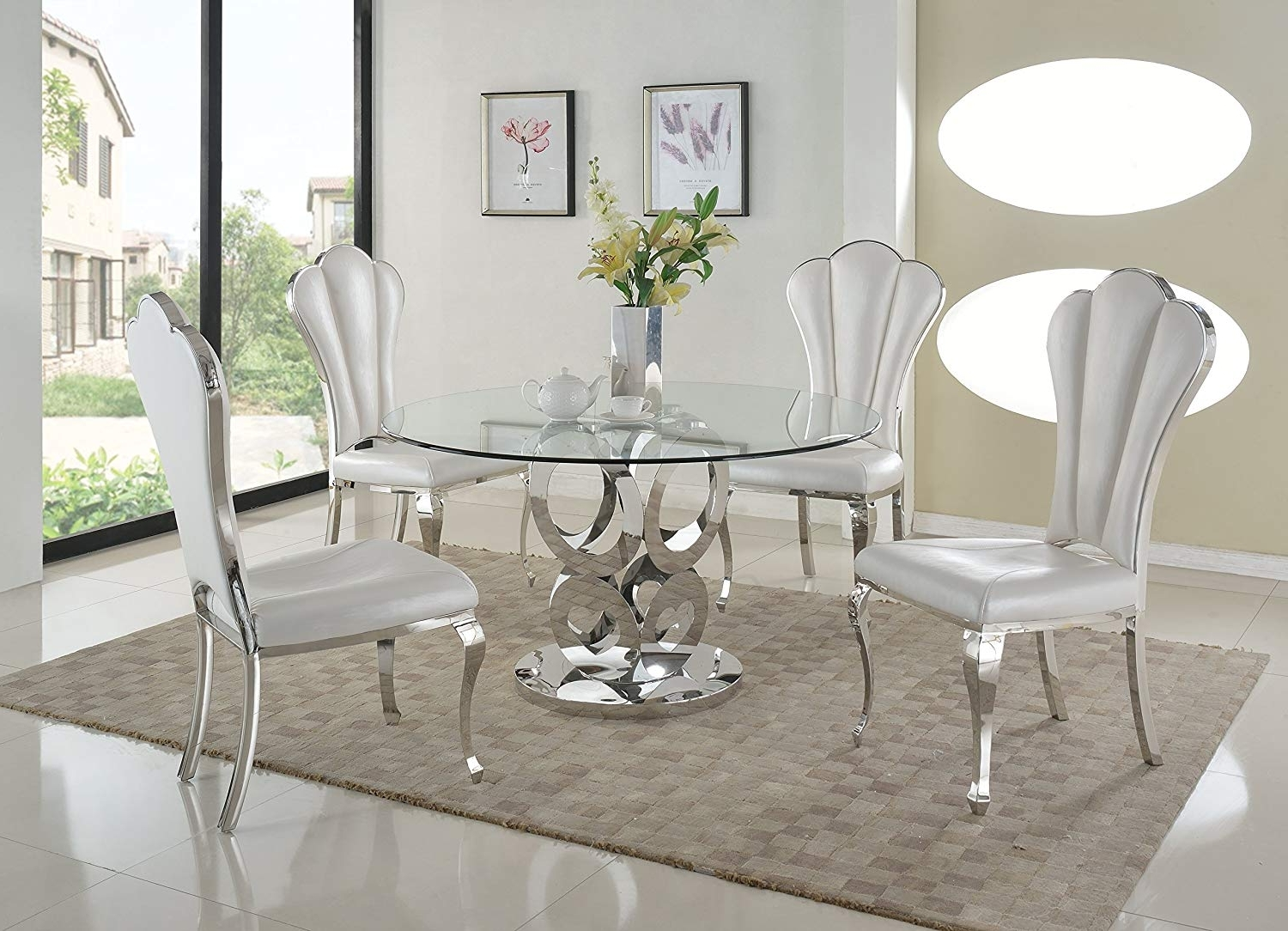2018 Chandler 7 Piece Extension Dining Sets With Fabric Side Chairs intended for Amazon - Milan Remi-5Pc Remi Round Glass 5 Piece Dining Set With