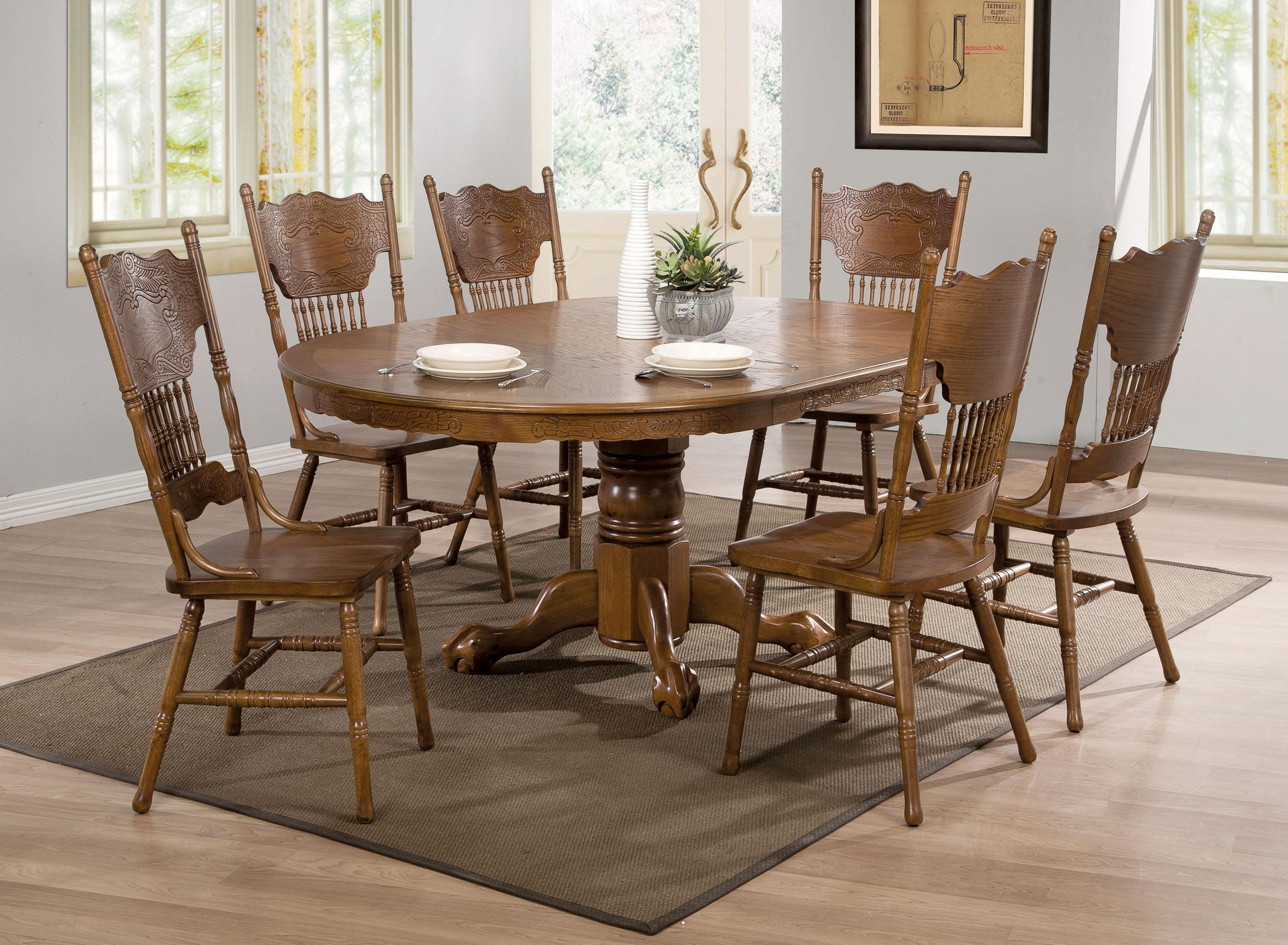 2018 Cheap Oak Dining Sets Inside 27 Beautiful Solid Oak Dining Tables And Chairs – Welovedandelion (View 2 of 25)