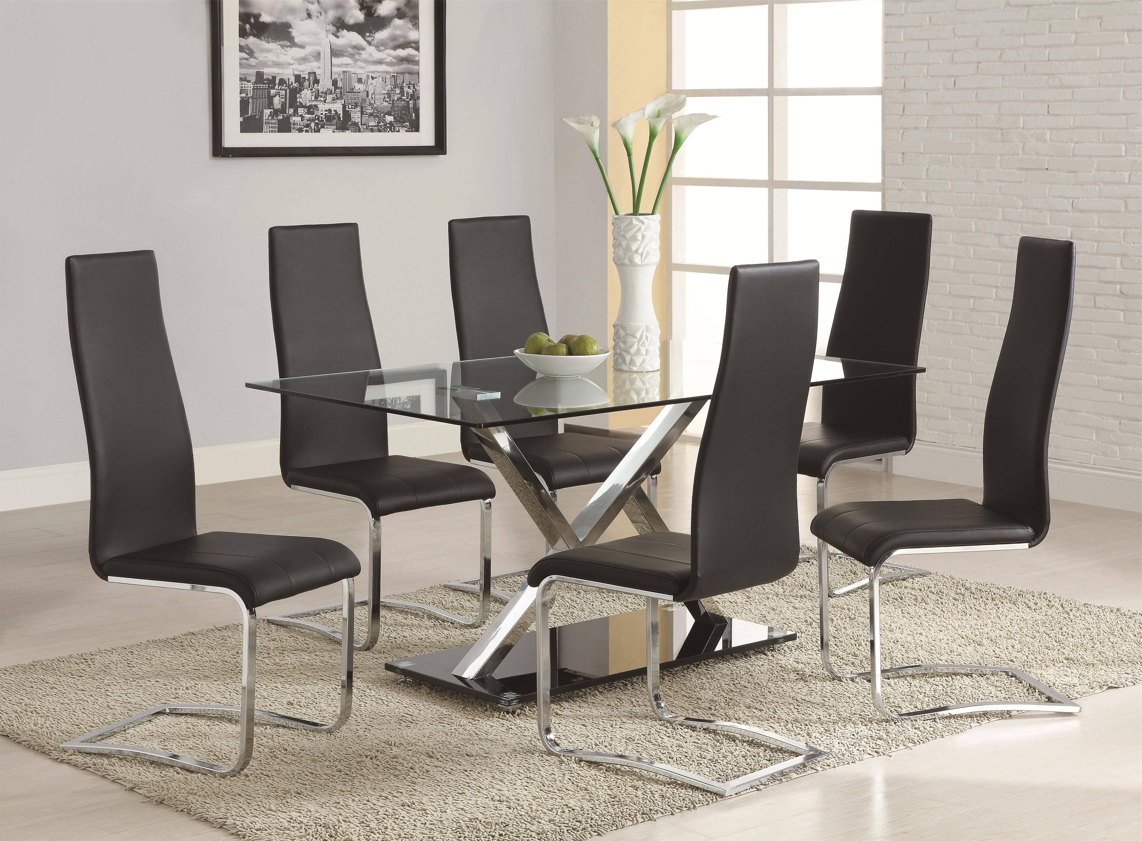 2018 Chrome Dining Room Sets Inside Coaster Modern Dining Black Faux Leather Dining Chair With Chrome (Gallery 23 of 25)