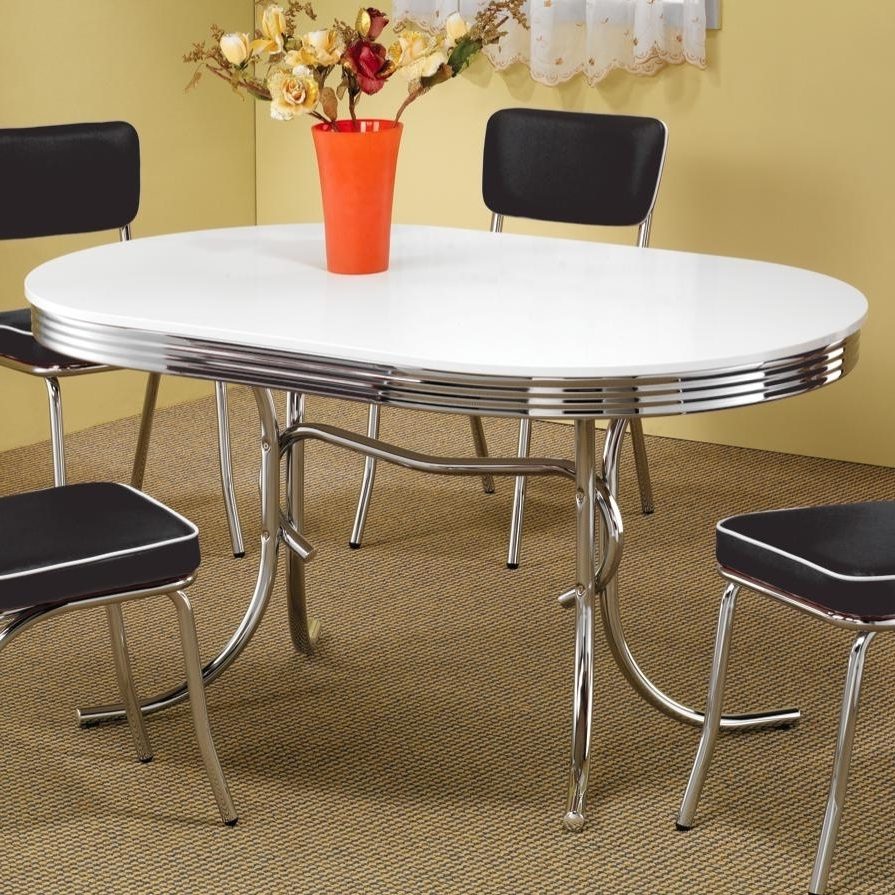 "2018 Chrome Dining Tables And Chairs Throughout Coaster Cleveland 60""l 2065 Chrome Dining Table Set (Gallery 21 of 25)"