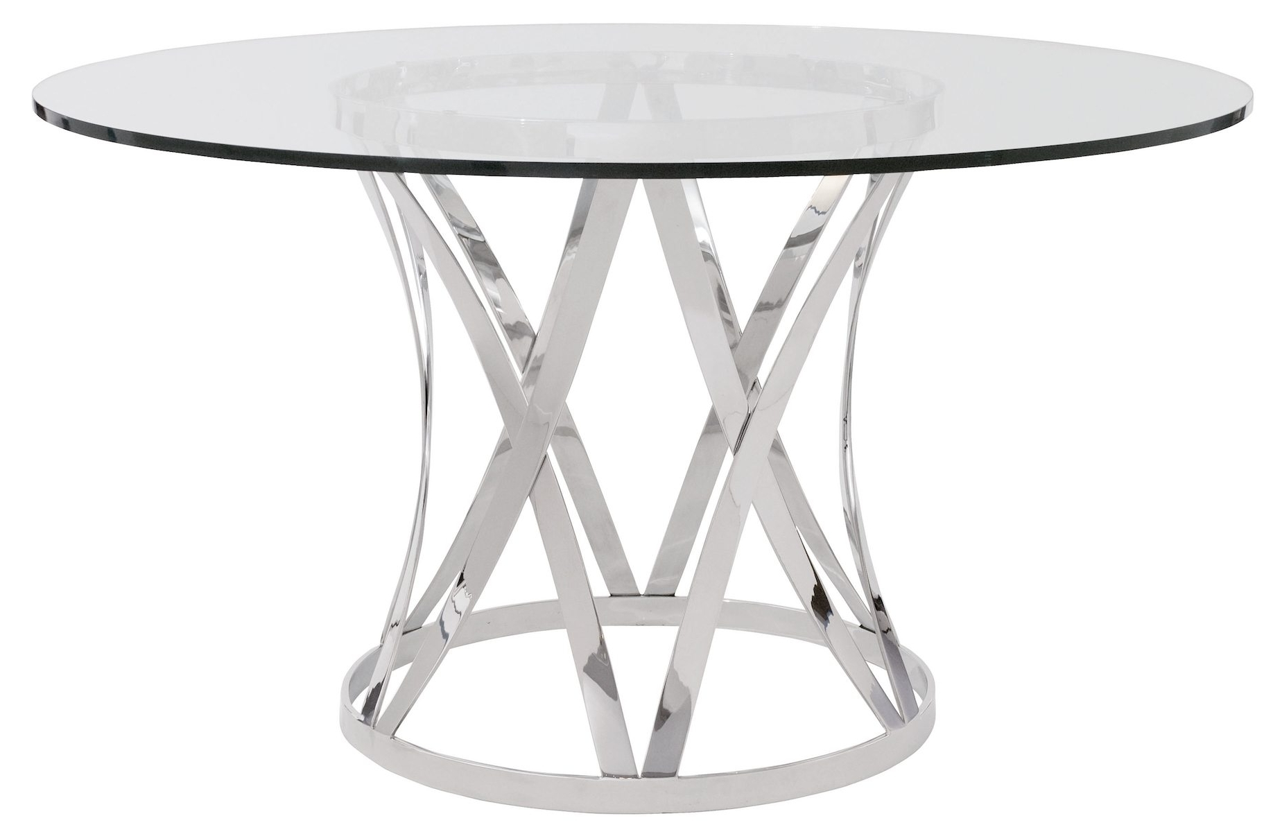 2018 Chrome Glass Dining Tables Pertaining To Awesome Round Eased Edge Profile Glass Dining Table With Polished (View 22 of 25)