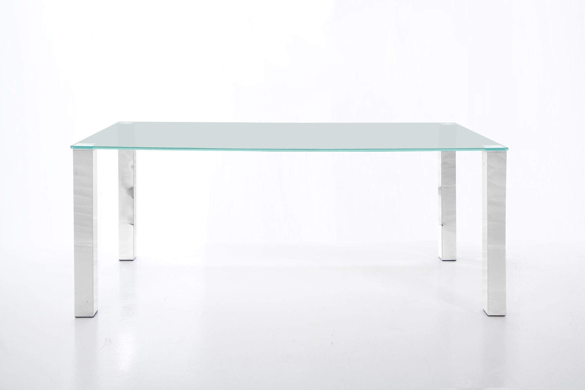 2018 Chrome Glass Dining Tables Pertaining To Kante Large 140Cm Glass Dining Table With Chrome Legs – Homestreet (Gallery 2 of 25)