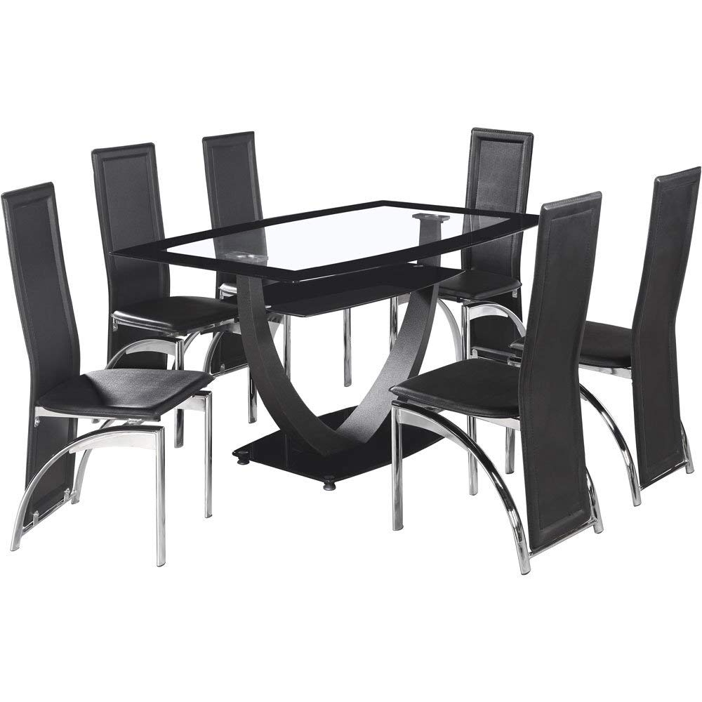 2018 Clear Glass Dining Tables And Chairs In Seconique Henley 6 Seater Glass Dining Set, Black Pvc Chairs (View 25 of 25)