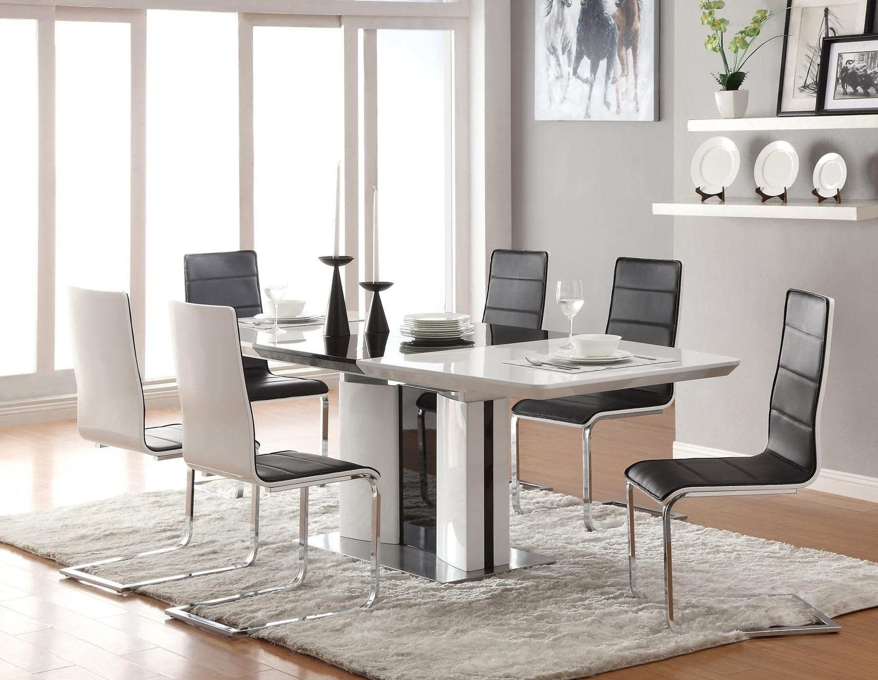 2018 Contemporary Dining Tables Sets With Regard To Modern Italian Dining Room Furniture Sets With Black And White (View 8 of 25)