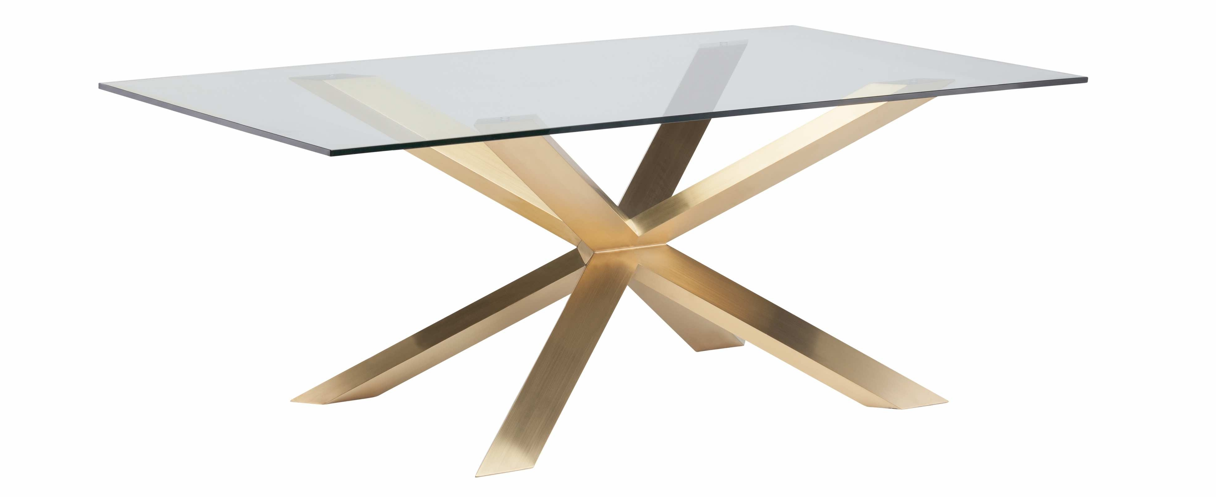 2018 Couture 78 Inch Dining Table In Brushed Gold Stainless Steel And Glass Intended For Brushed Metal Dining Tables (Gallery 22 of 25)