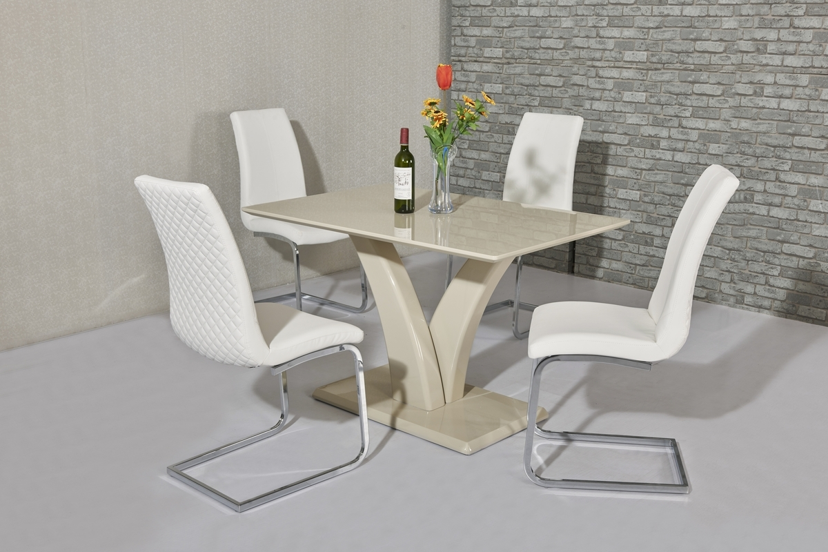 2018 Cream High Gloss Dining Tables In Cream High Gloss Dining Table And 4 White Chairs – Homegenies (View 23 of 25)