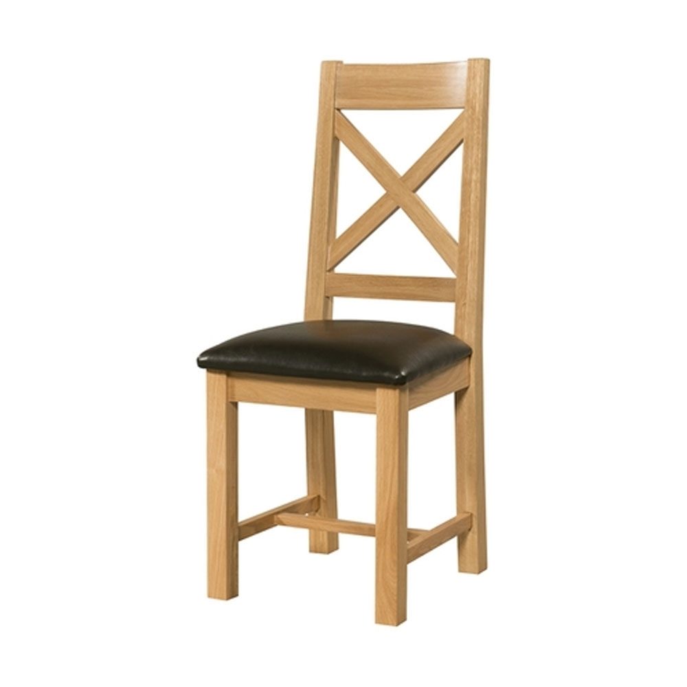 2018 Cross Back Dining Chair Oak Pertaining To Oak Dining Chairs (View 3 of 25)
