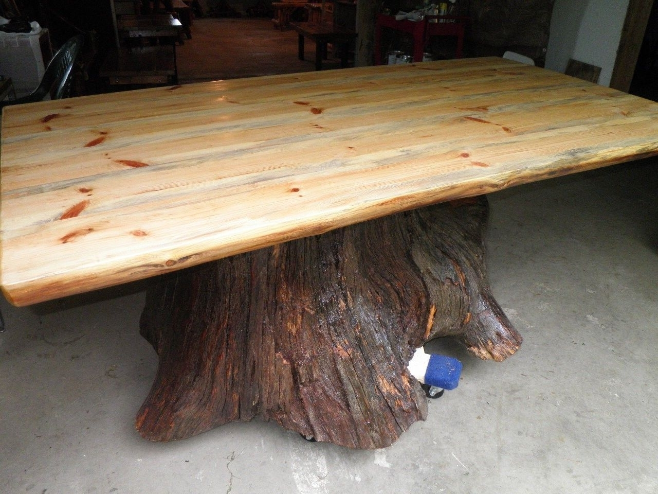 2018 Custom Real Oak Tree Trunk Kitchen Dining Table – One Of Our Current With Tree Dining Tables (Gallery 3 of 25)