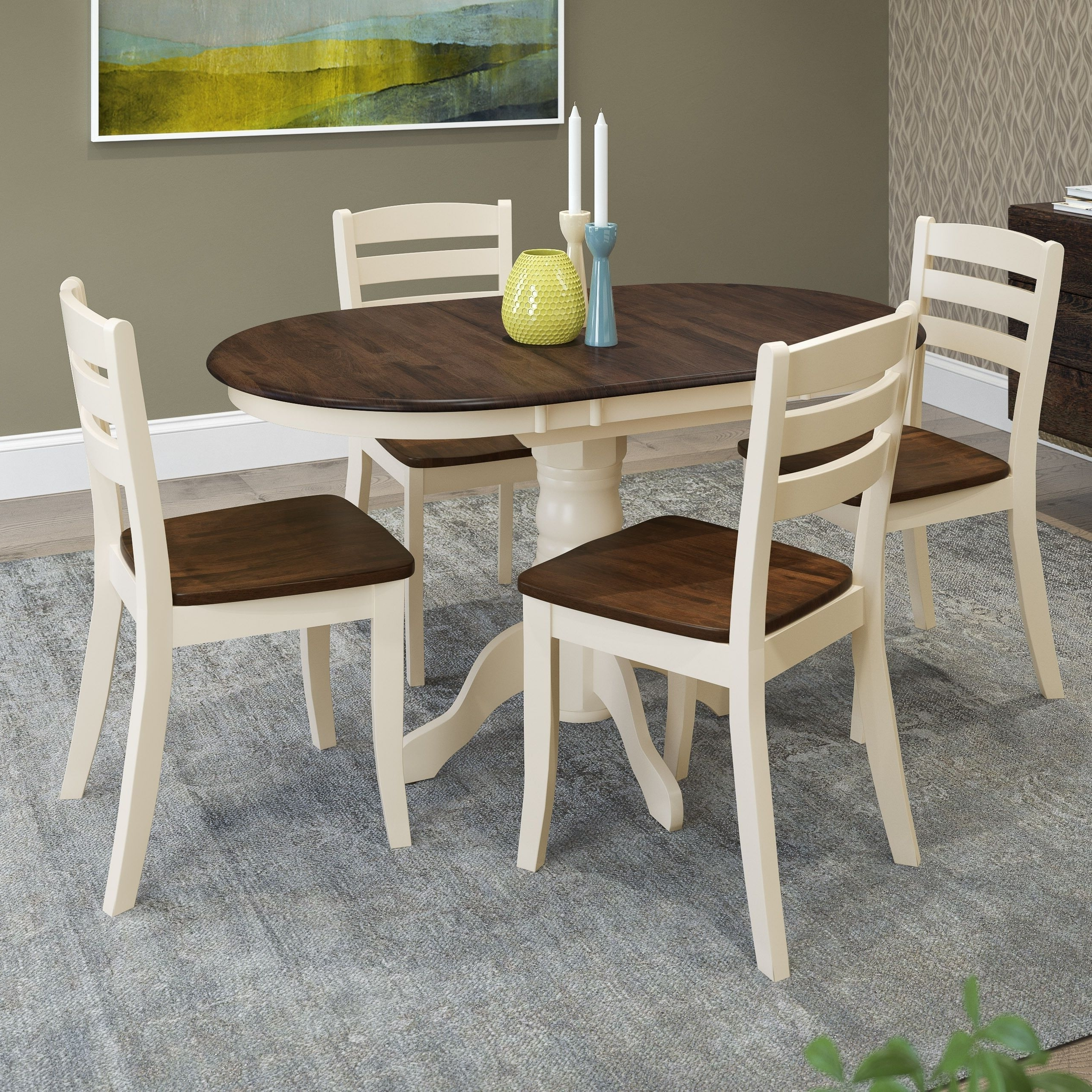 2018 Dark Solid Wood Dining Tables Intended For Corliving Dillon 5 Piece Extendable Dark Brown And Cream Solid Wood (Gallery 21 of 25)