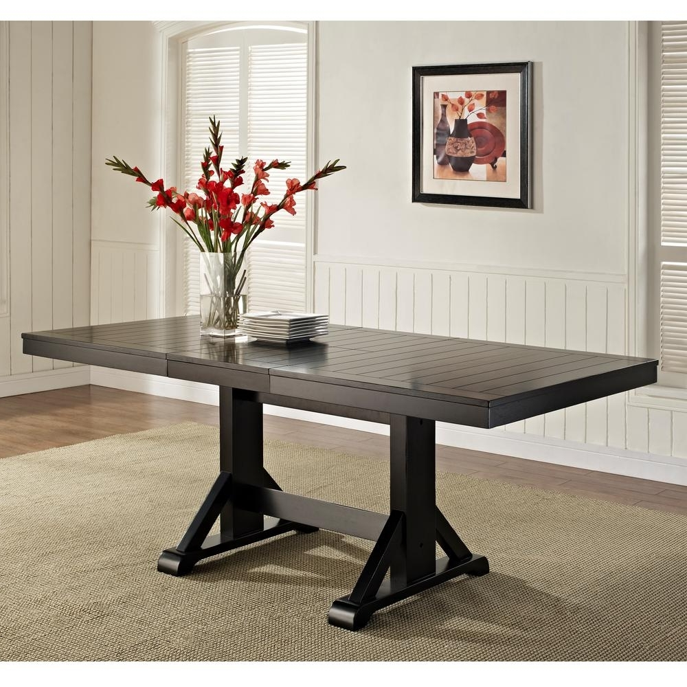 2018 Dining Tables Dark Wood In Walker Edison Furniture Company Millwright Black Extendable Dining Table (View 16 of 25)