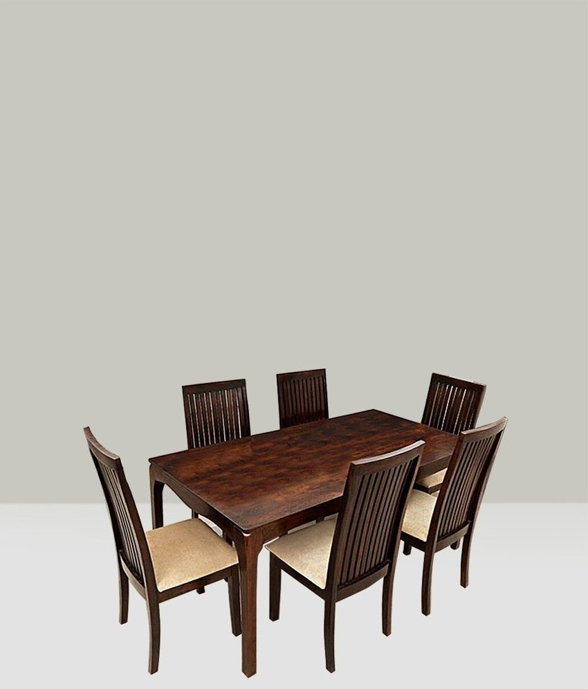 2018 Ethnic Handicrafts Elmond 6 Seater Dining Set Including Dining Table Within Cheap 6 Seater Dining Tables And Chairs (Gallery 13 of 25)