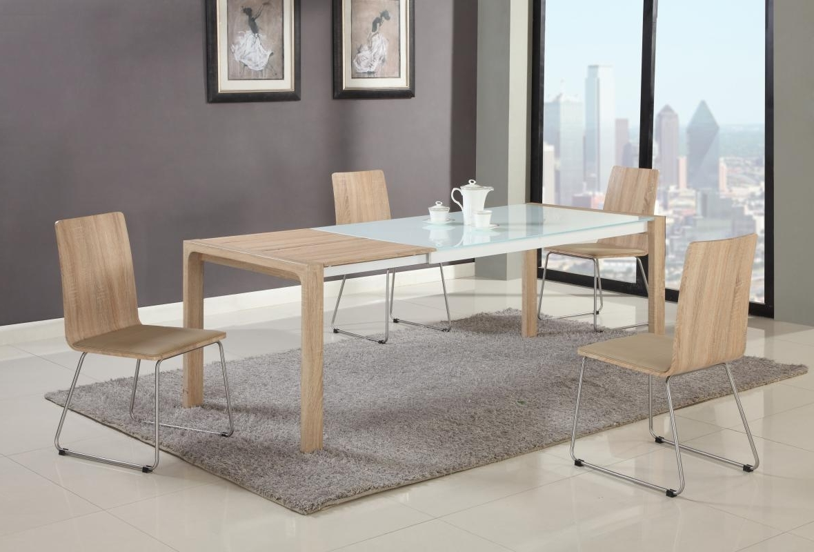 2018 Extendable In Wood Glass Top Modern Dining Table Sets Charlotte throughout Oak And Glass Dining Tables Sets