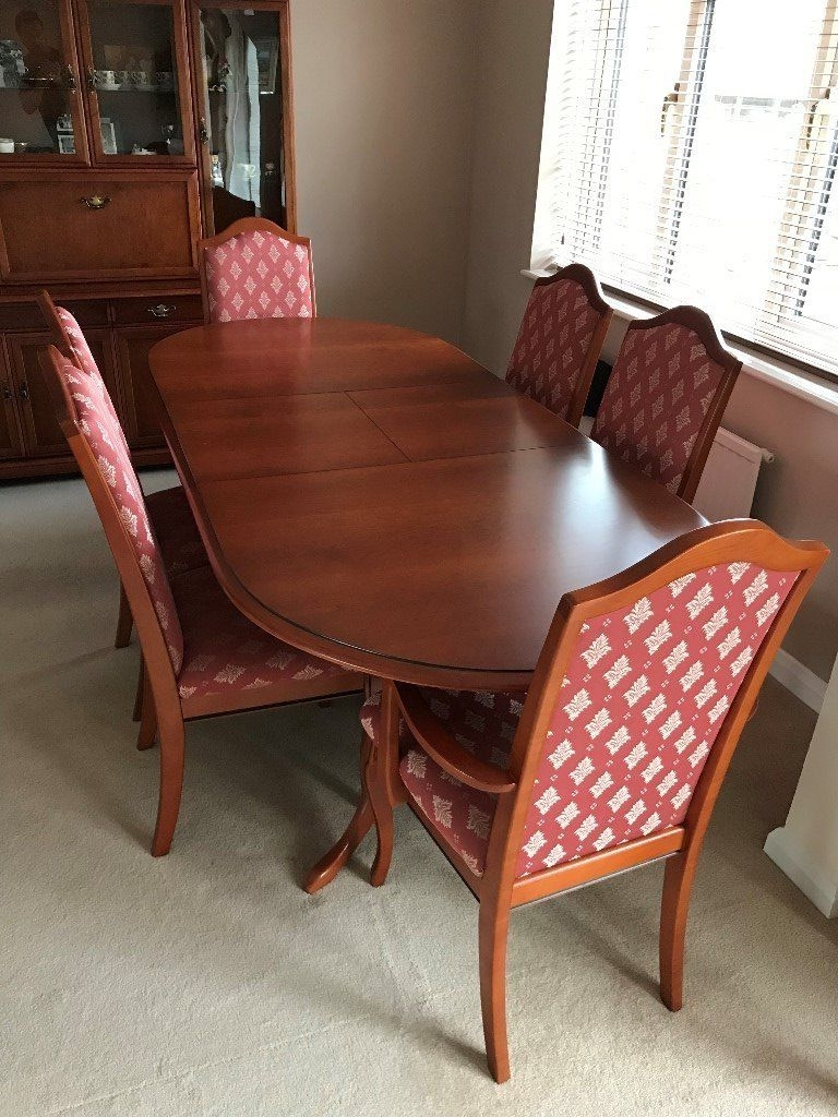 2018 Extending Dining Room Tables And Chairs Within White &newton Cherry Wood Extending Dining Room Table & Chairs (View 18 of 25)