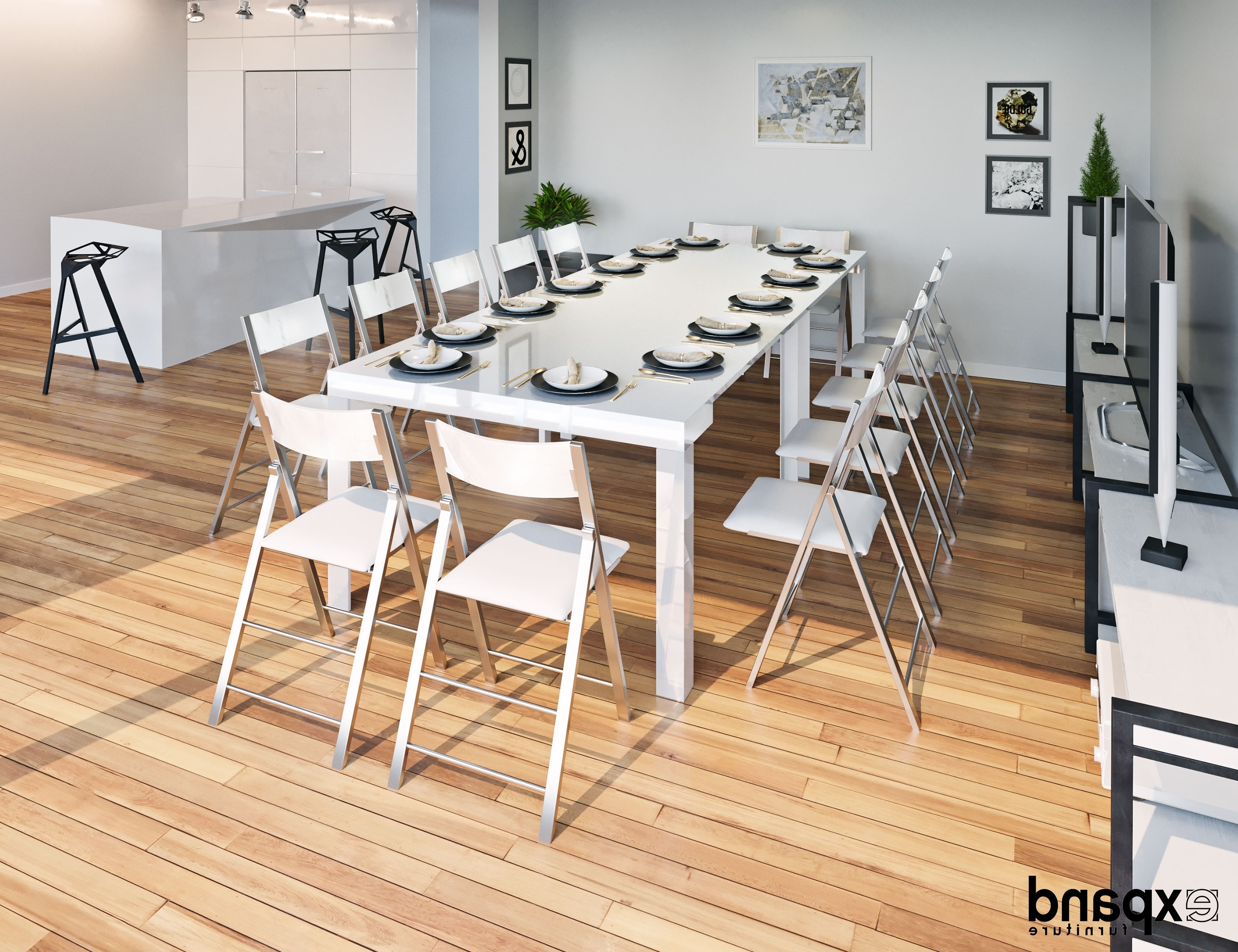 2018 Extending Dining Tables With 14 Seats For Tiny Titan – Transforming Kitchen Table (View 3 of 25)